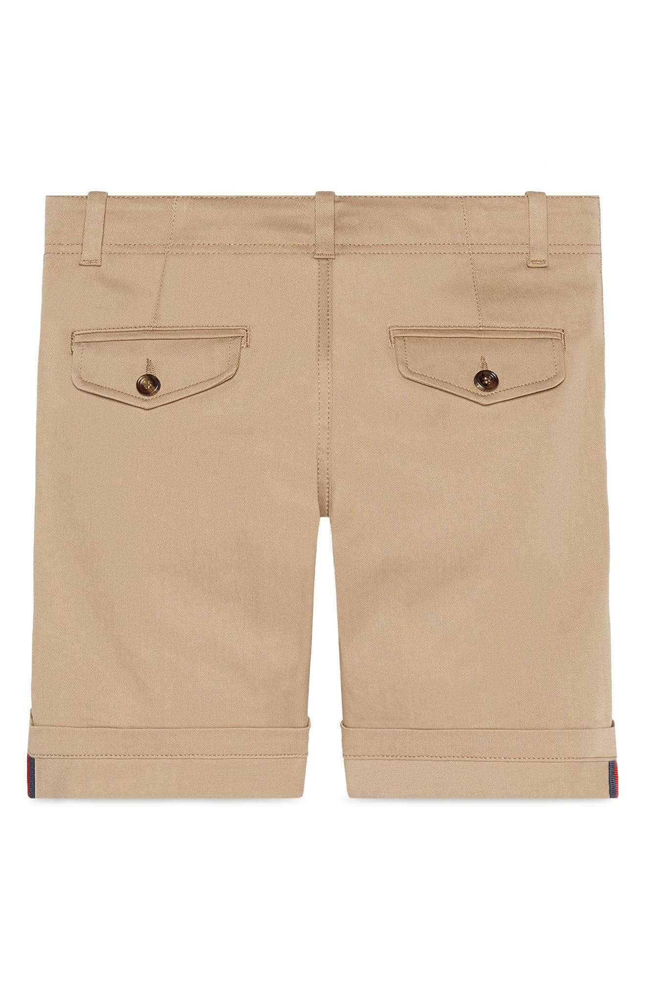GUCCI,                             Stretch Cotton Shorts,                             Alternate thumbnail 2, color,                             BEIGE