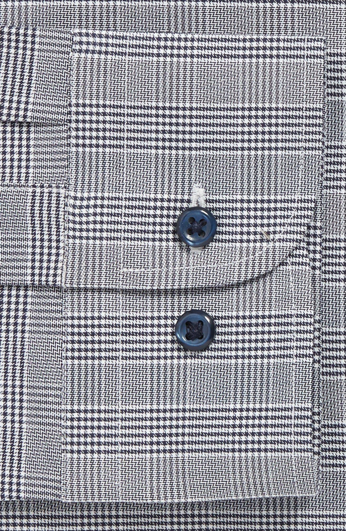 Tech-Smart Trim Fit Stretch Plaid Dress Shirt,                             Alternate thumbnail 6, color,                             NAVY PEACOAT