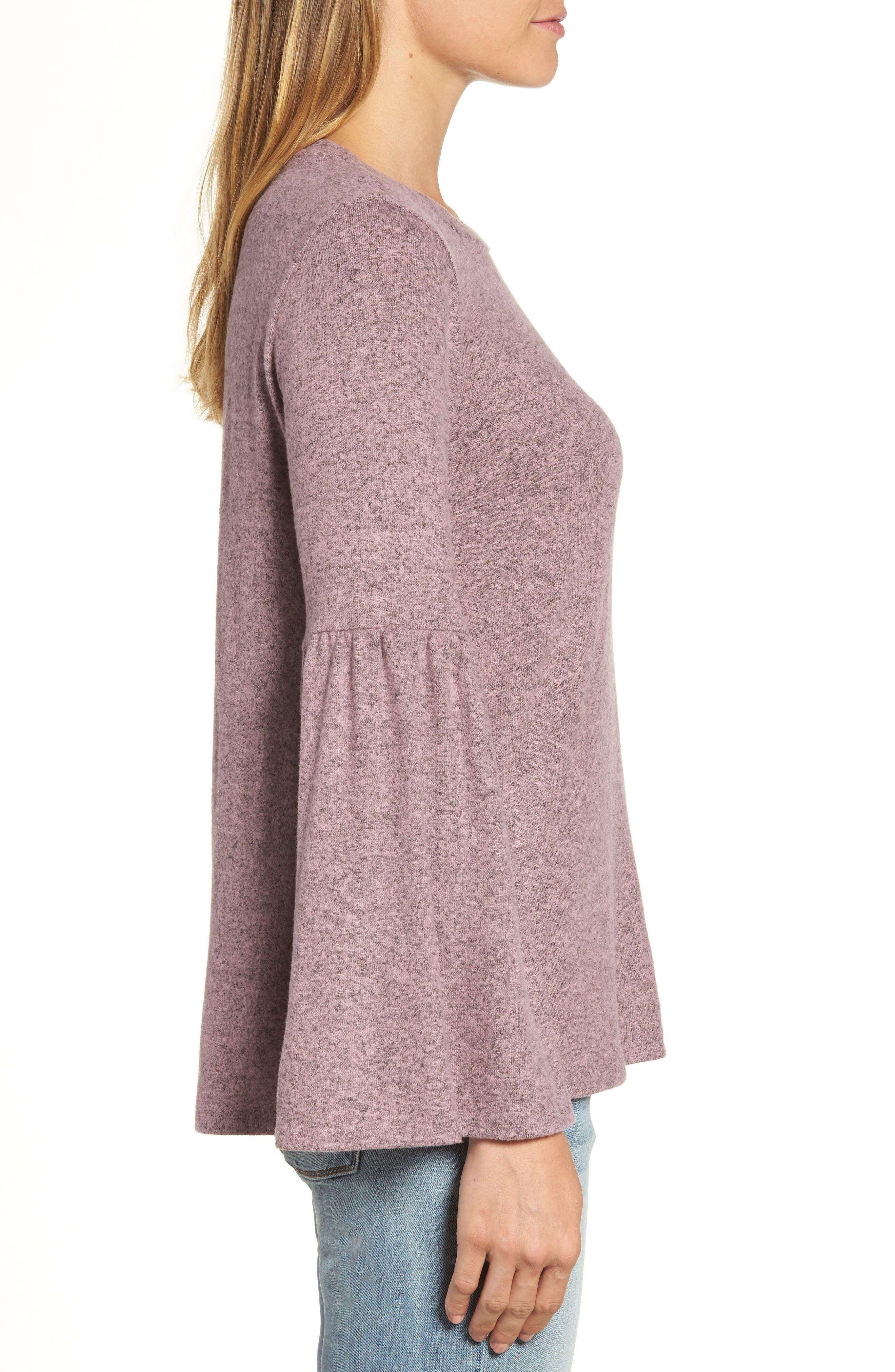 Bell Sleeve Cozy Fleece Pullover,                             Alternate thumbnail 28, color,