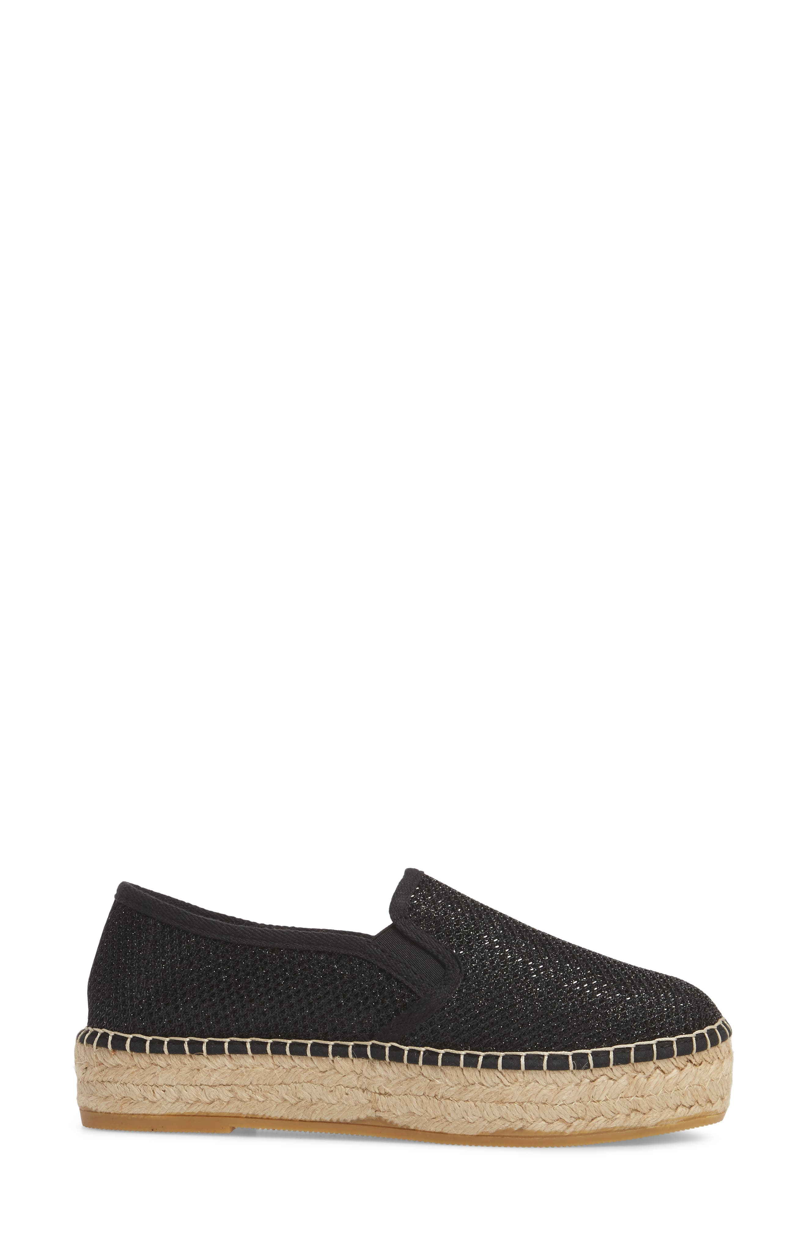 Fonda Platform Espadrille Sneaker,                             Alternate thumbnail 3, color,                             BLACK FABRIC