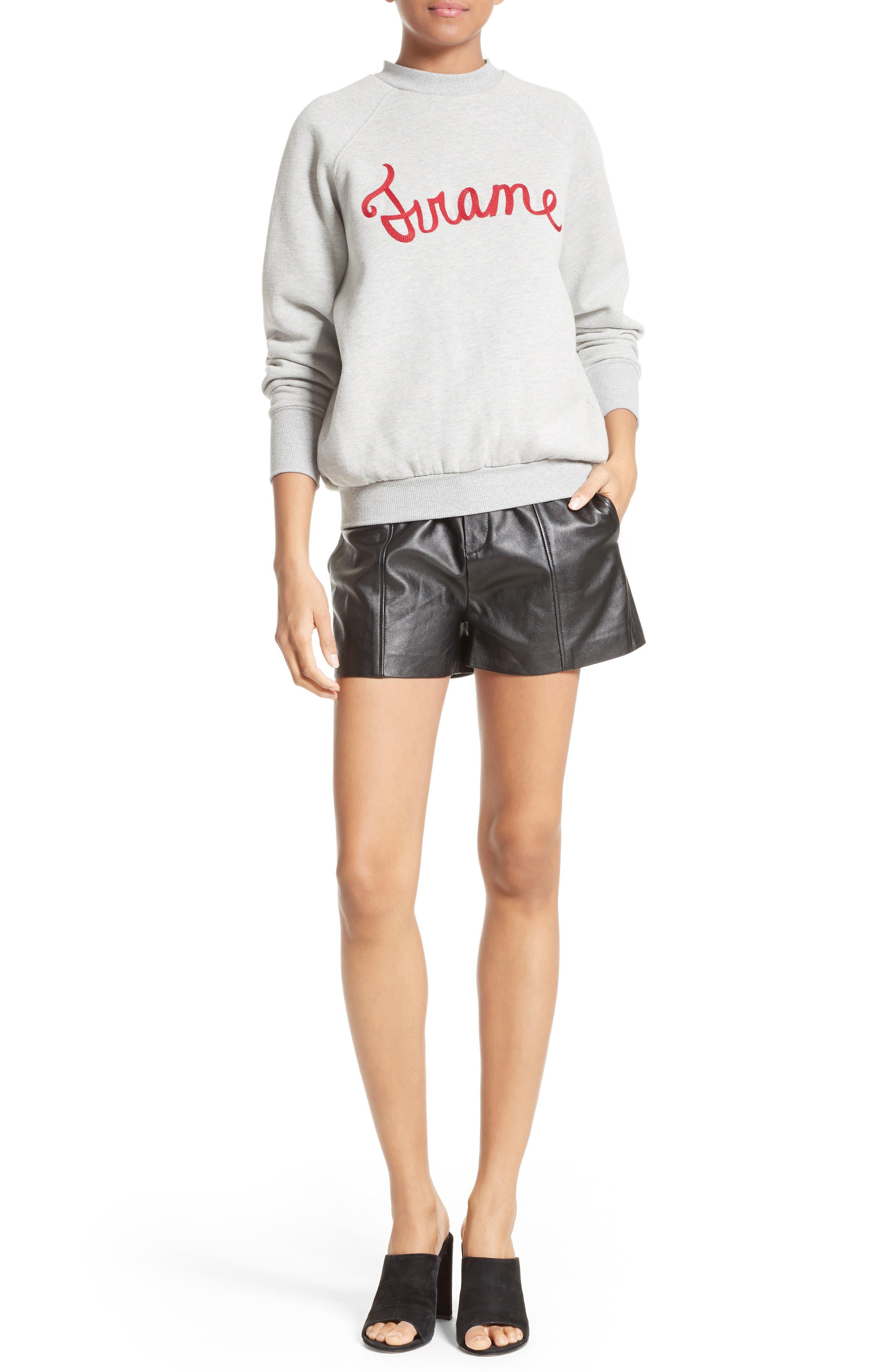 Leather Shorts,                             Alternate thumbnail 6, color,