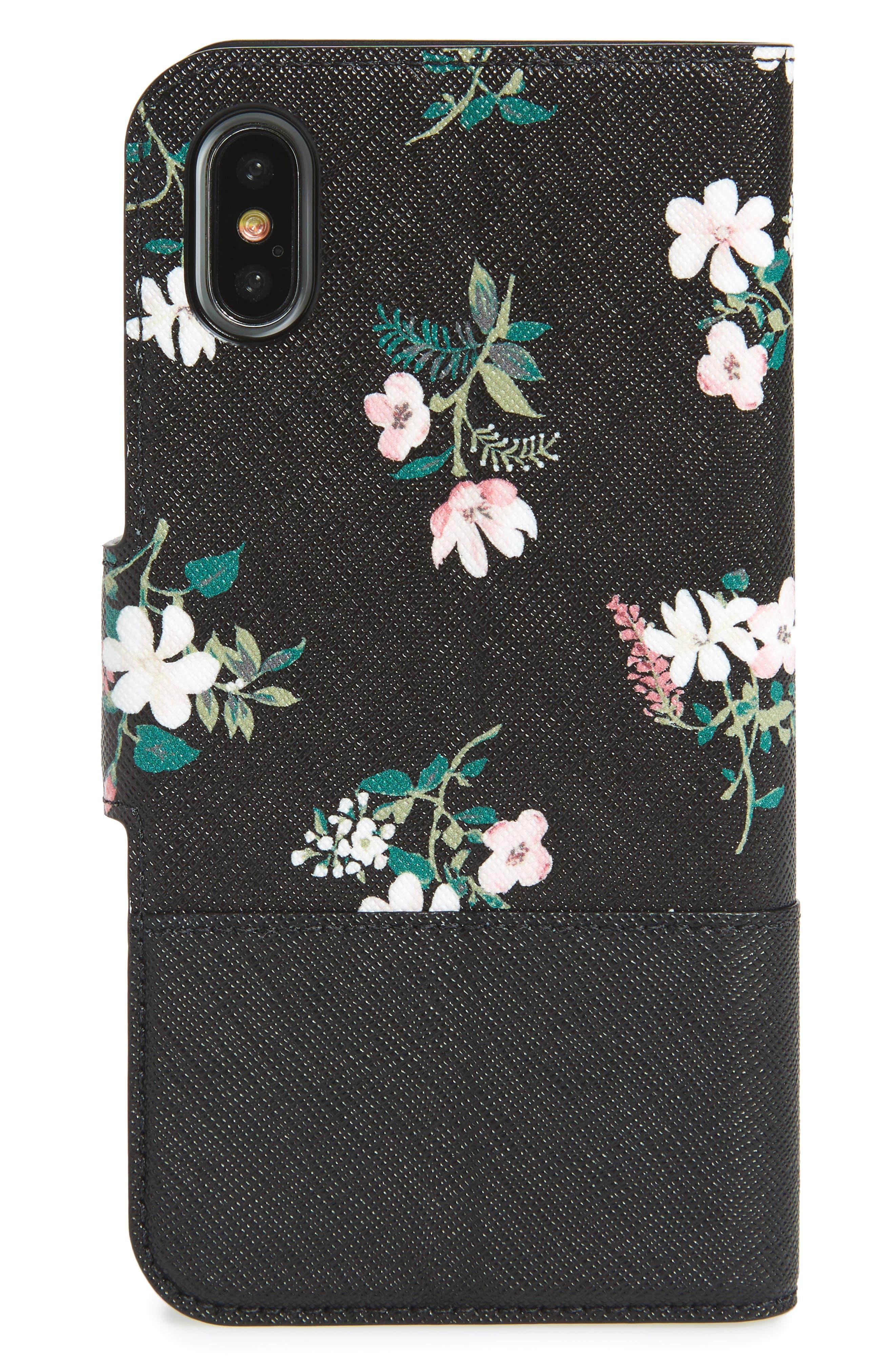 floral wrap faux leather iPhone X & Xs folio case,                             Alternate thumbnail 3, color,                             002