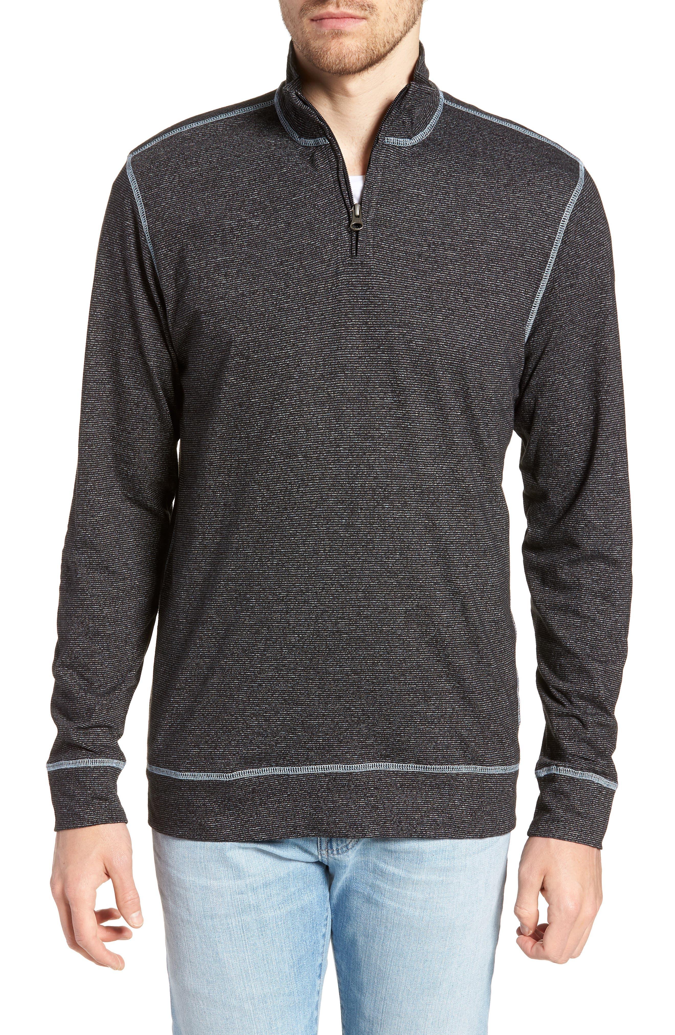 Vintage 1946 Regular Fit Quarter Zip Shirt, Black