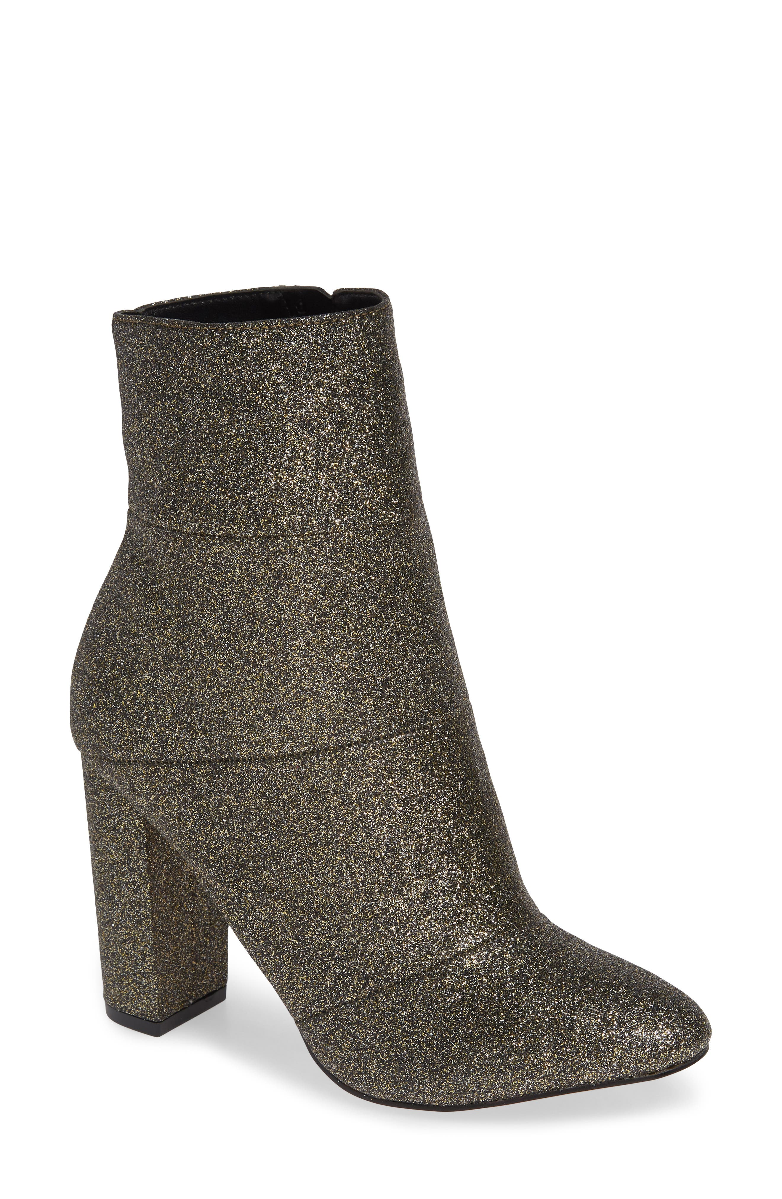 Coral Bootie,                         Main,                         color, BLACK/ GOLD GLITTER