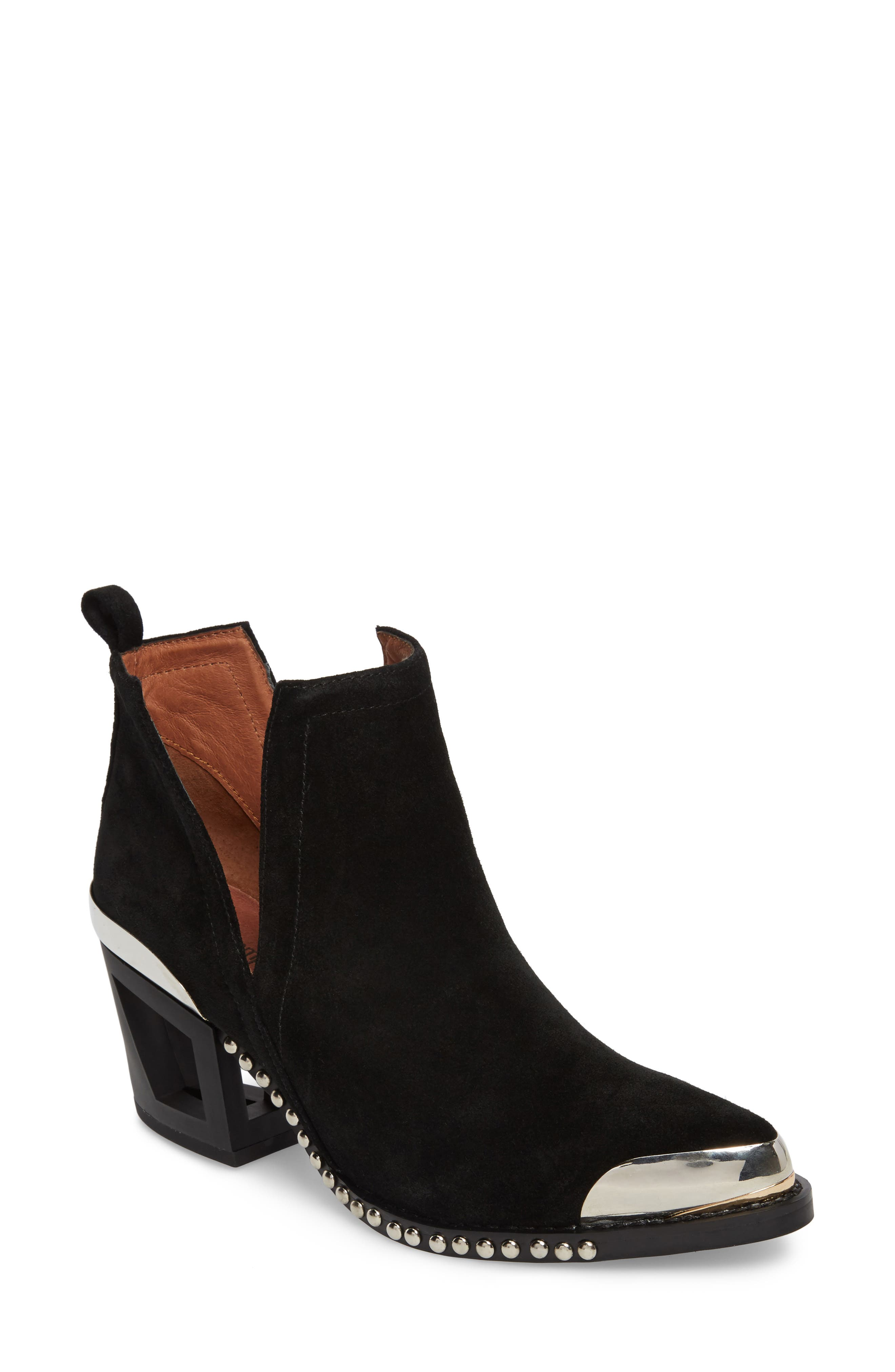 Optimum Studded Snake Textured Bootie,                             Main thumbnail 1, color,                             002