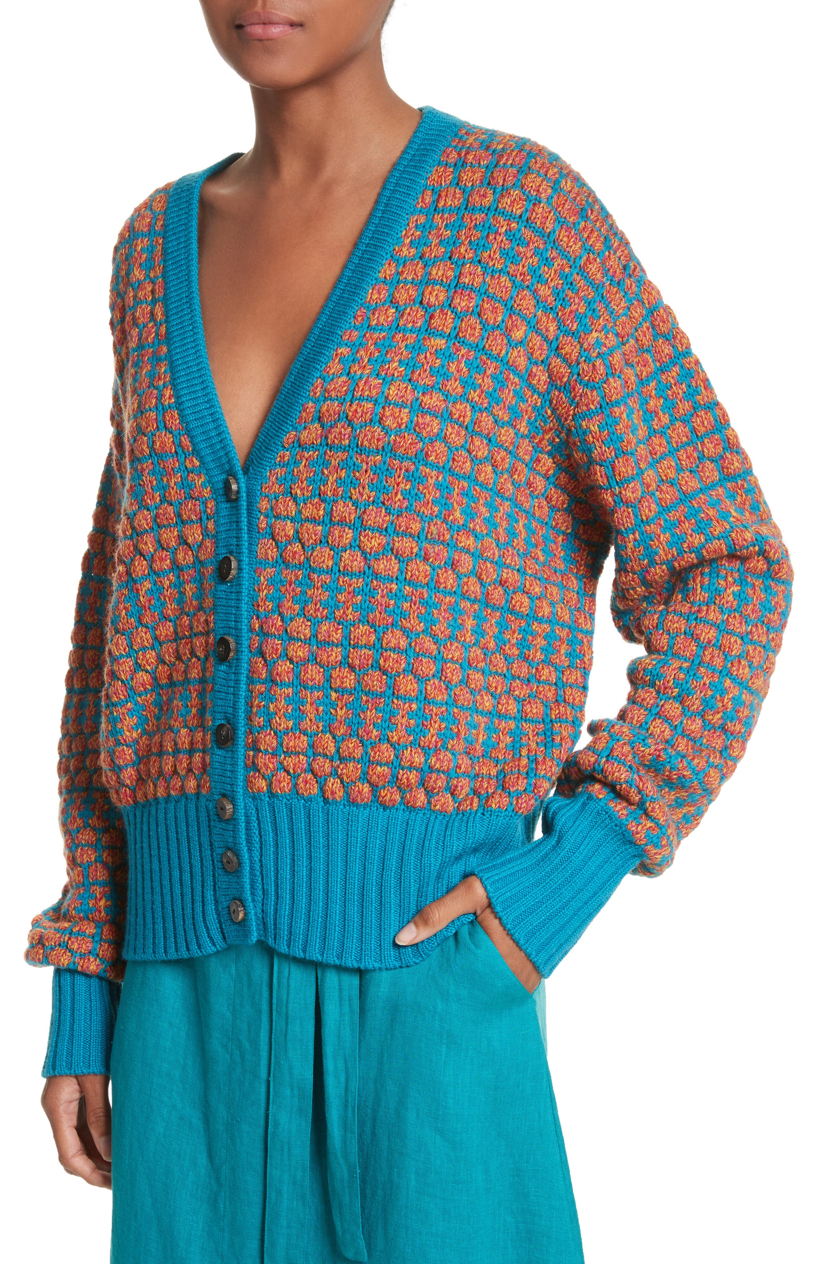 Izee Floral Button Cardigan,                             Alternate thumbnail 4, color,                             400