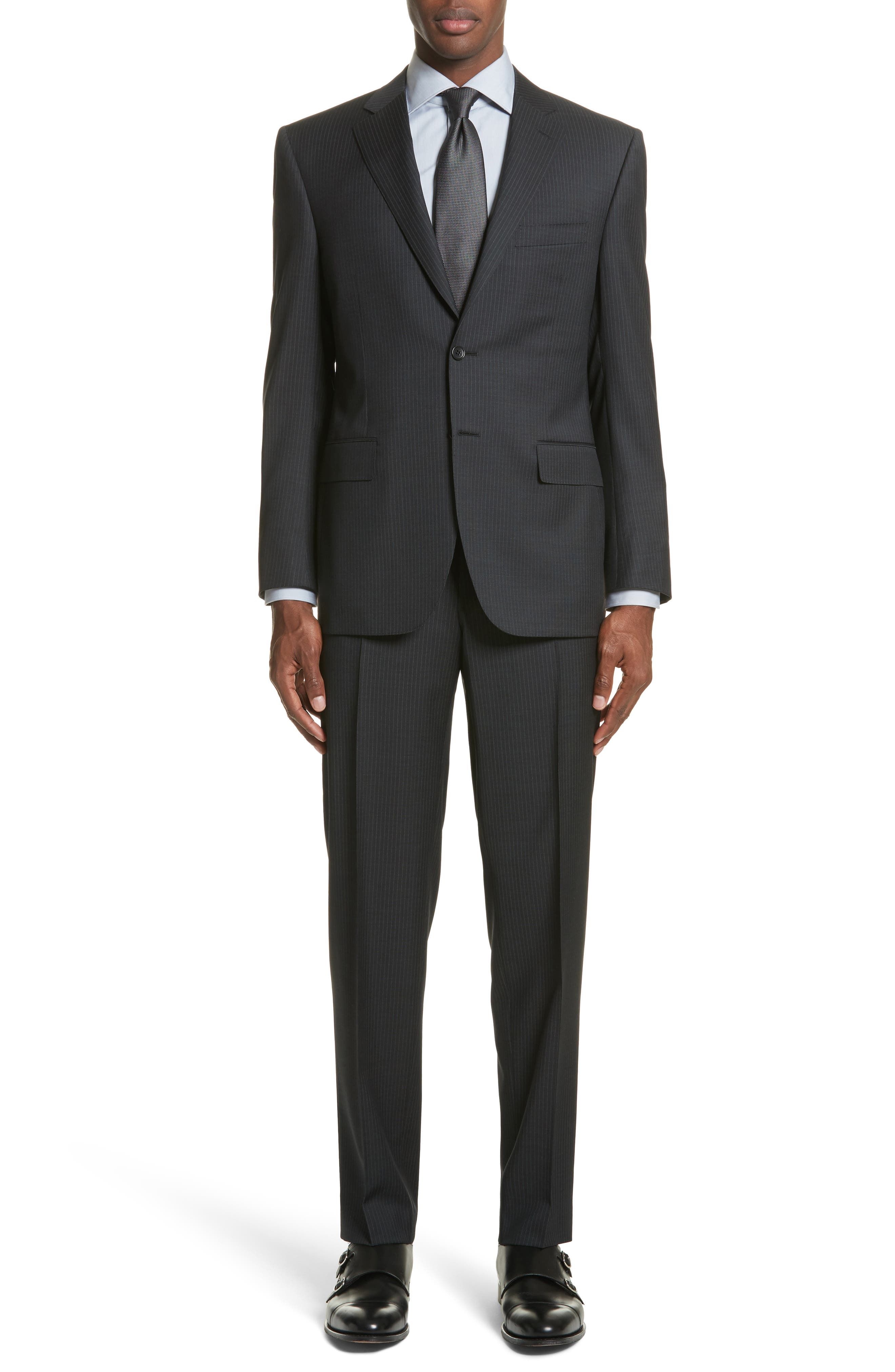CANALI,                             Classic Fit Stripe Wool Suit,                             Main thumbnail 1, color,                             010