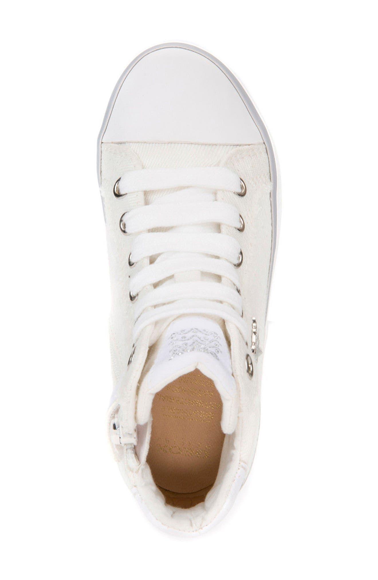 Kilwi High Top Zip Sneaker,                             Alternate thumbnail 5, color,                             WHITE