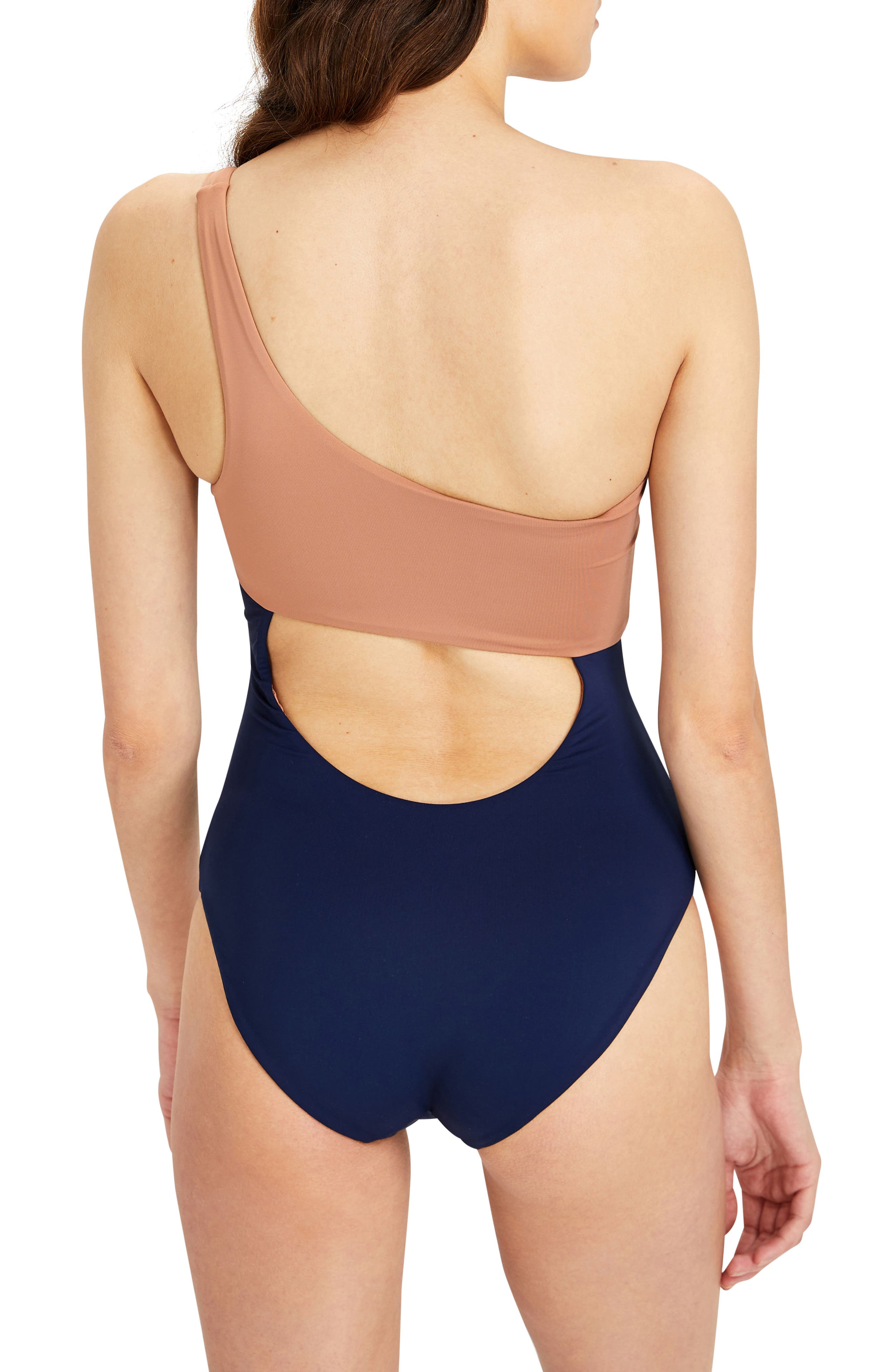 Sienna One-Shoulder Swimsuit,                             Alternate thumbnail 2, color,                             407