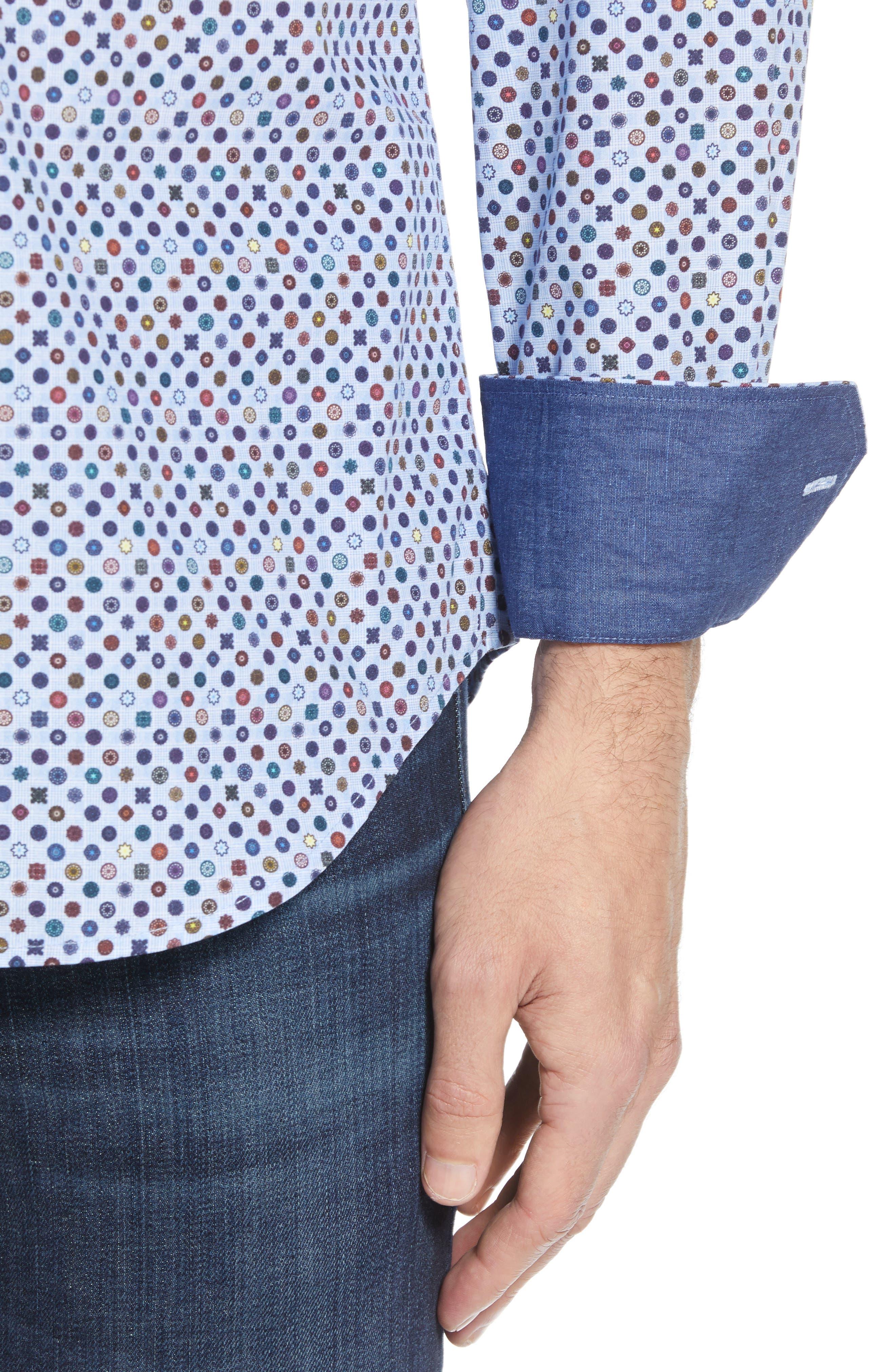 Shaped Fit Print Sport Shirt,                             Alternate thumbnail 2, color,                             SKY