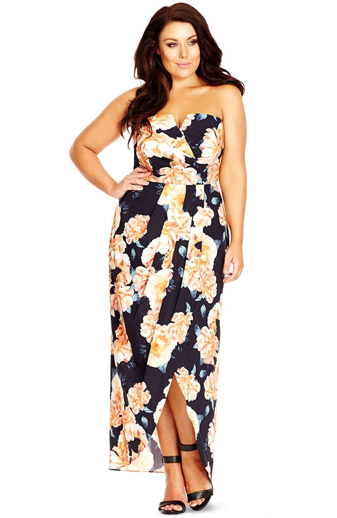 Tulip Time Floral Print Maxi Dress,                             Alternate thumbnail 3, color,                             BLACK