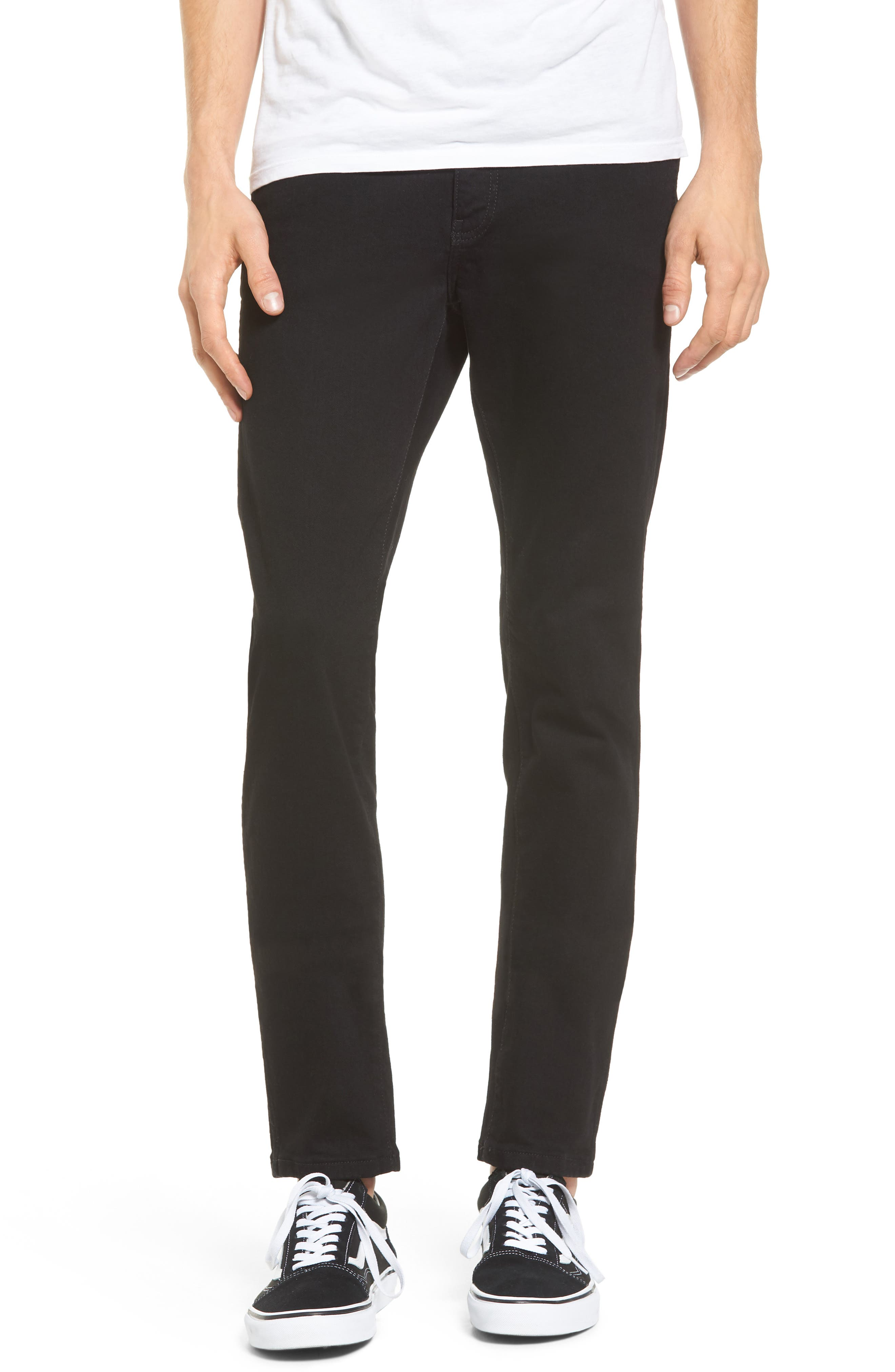 Snap Skinny Fit Jeans,                             Main thumbnail 1, color,                             ORGANIC BLACK
