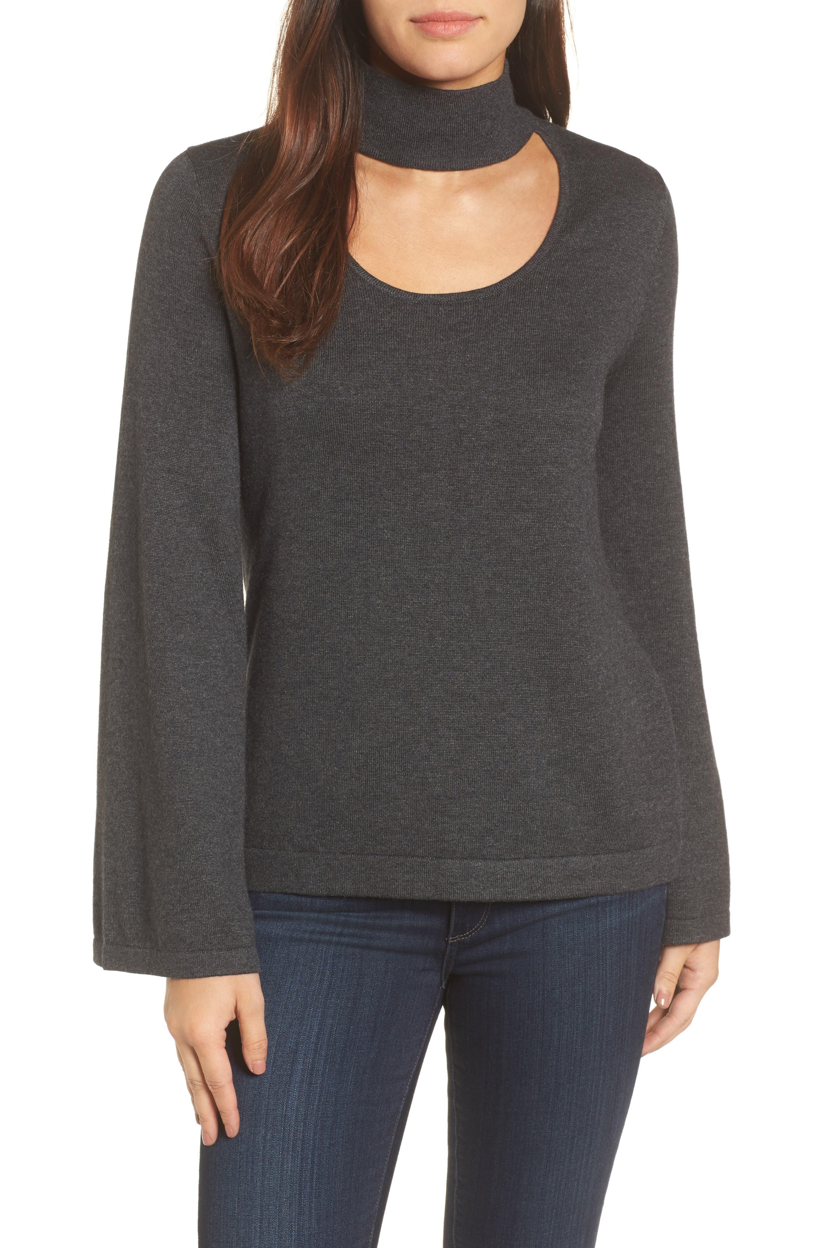 Bell Sleeve Choker Neck Sweater,                             Main thumbnail 2, color,
