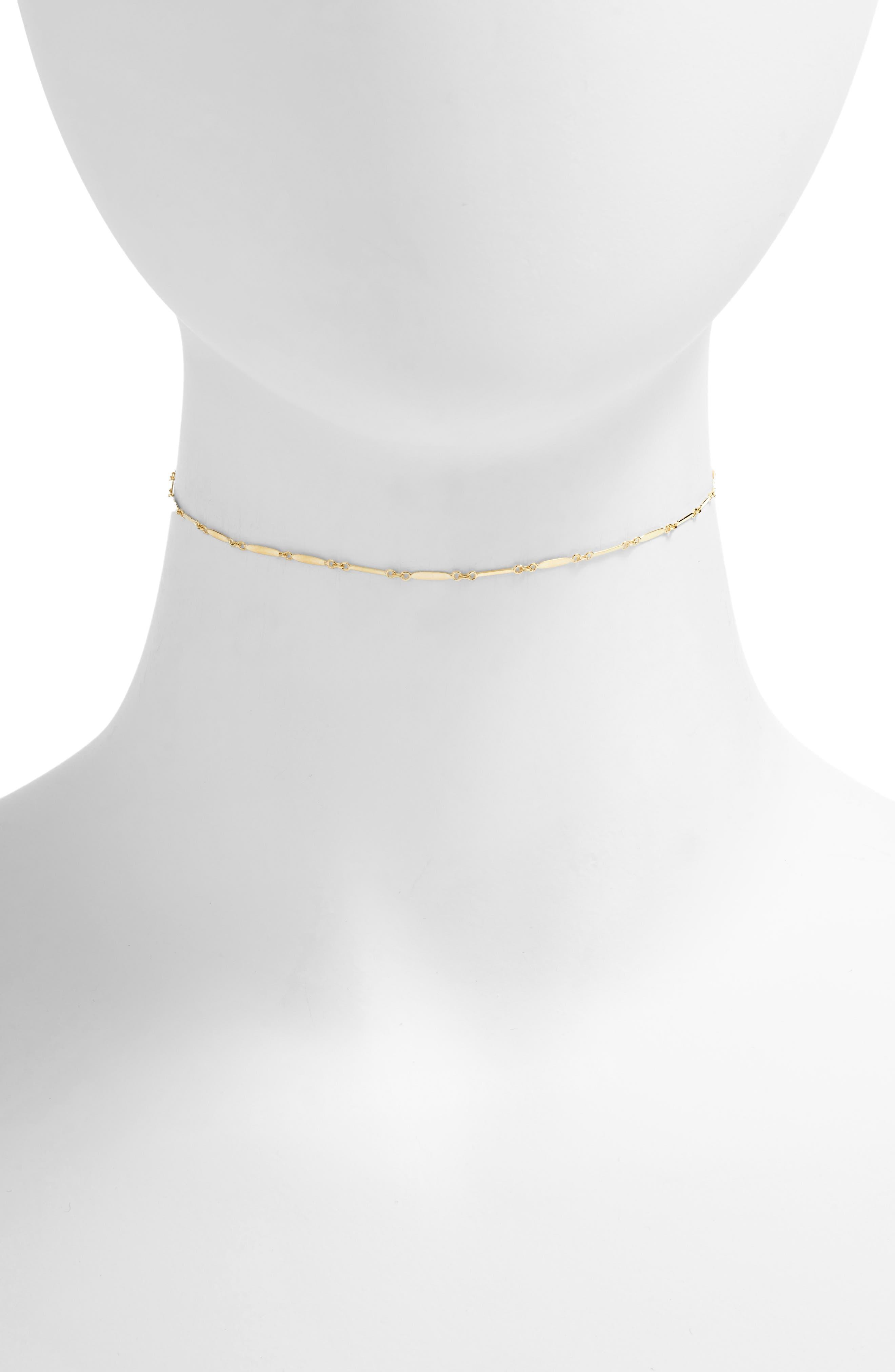 Mirror Bar Choker Necklace,                             Alternate thumbnail 2, color,                             GOLD