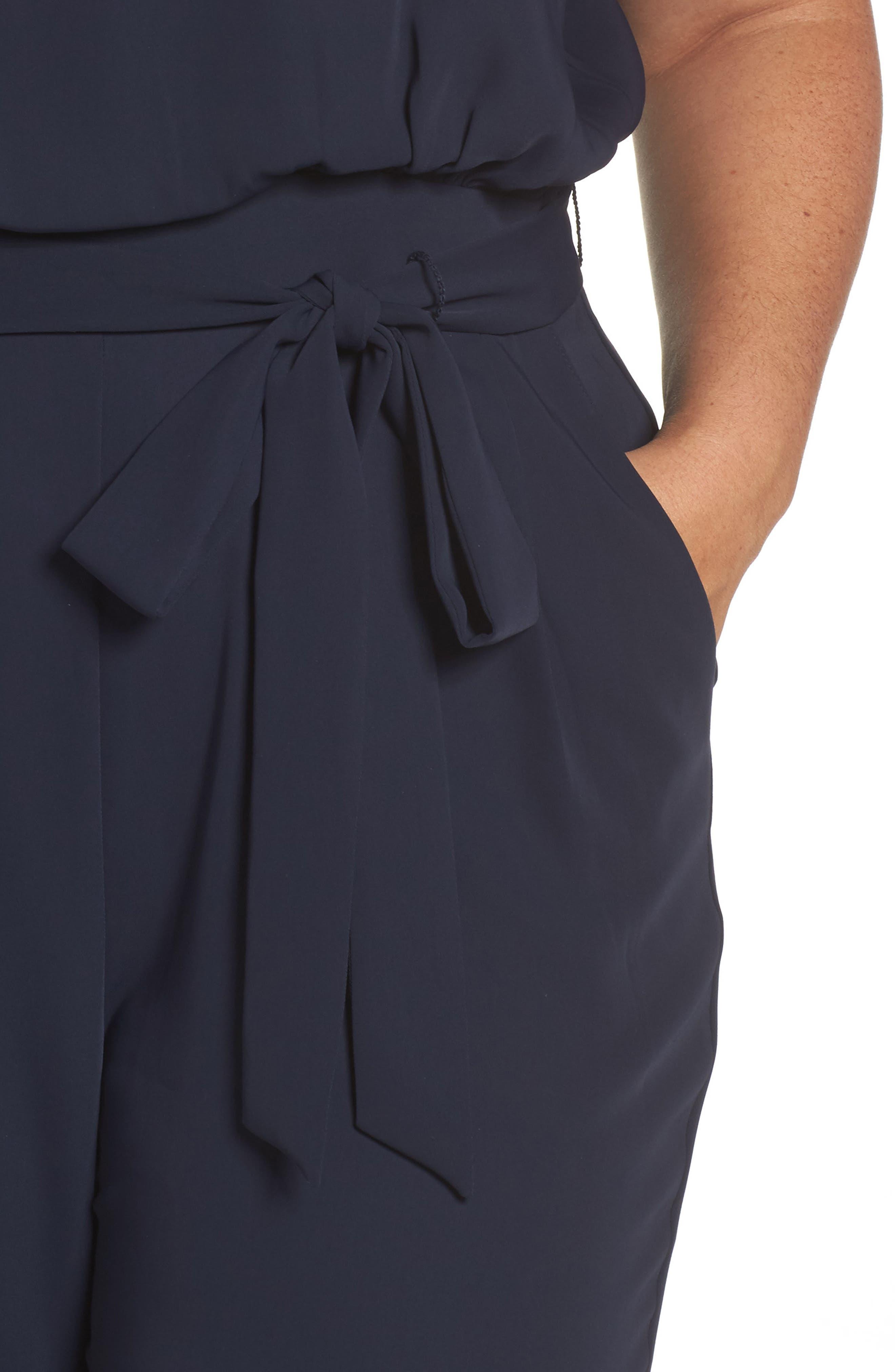 Cap Sleeve Crepe Jumpsuit,                             Alternate thumbnail 4, color,                             NAVY