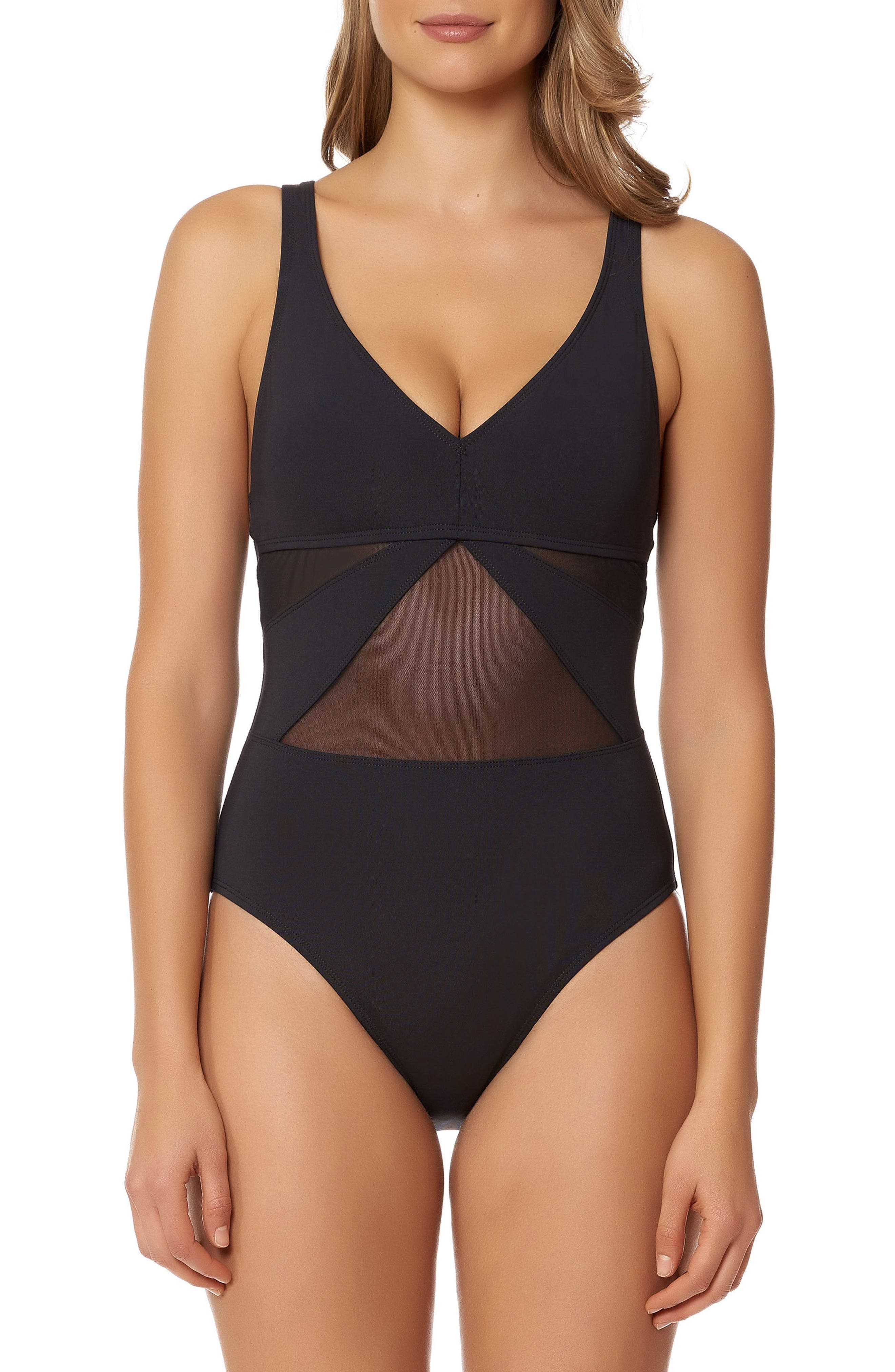 Strappy Back One-Piece Swimsuit,                             Main thumbnail 1, color,                             BLACK