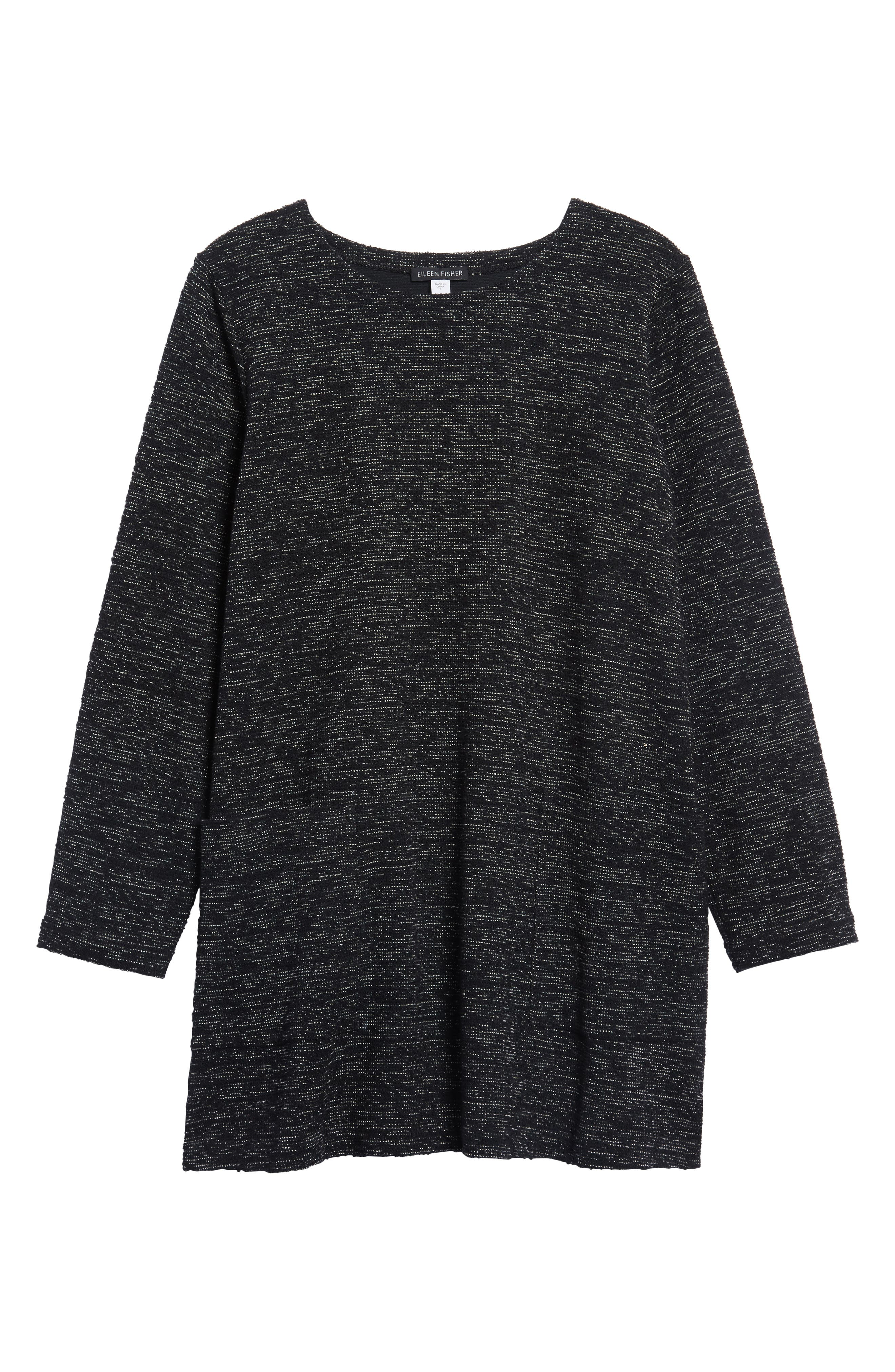 Boxy Organic Cotton Blend Tunic Sweater,                             Alternate thumbnail 6, color,                             001