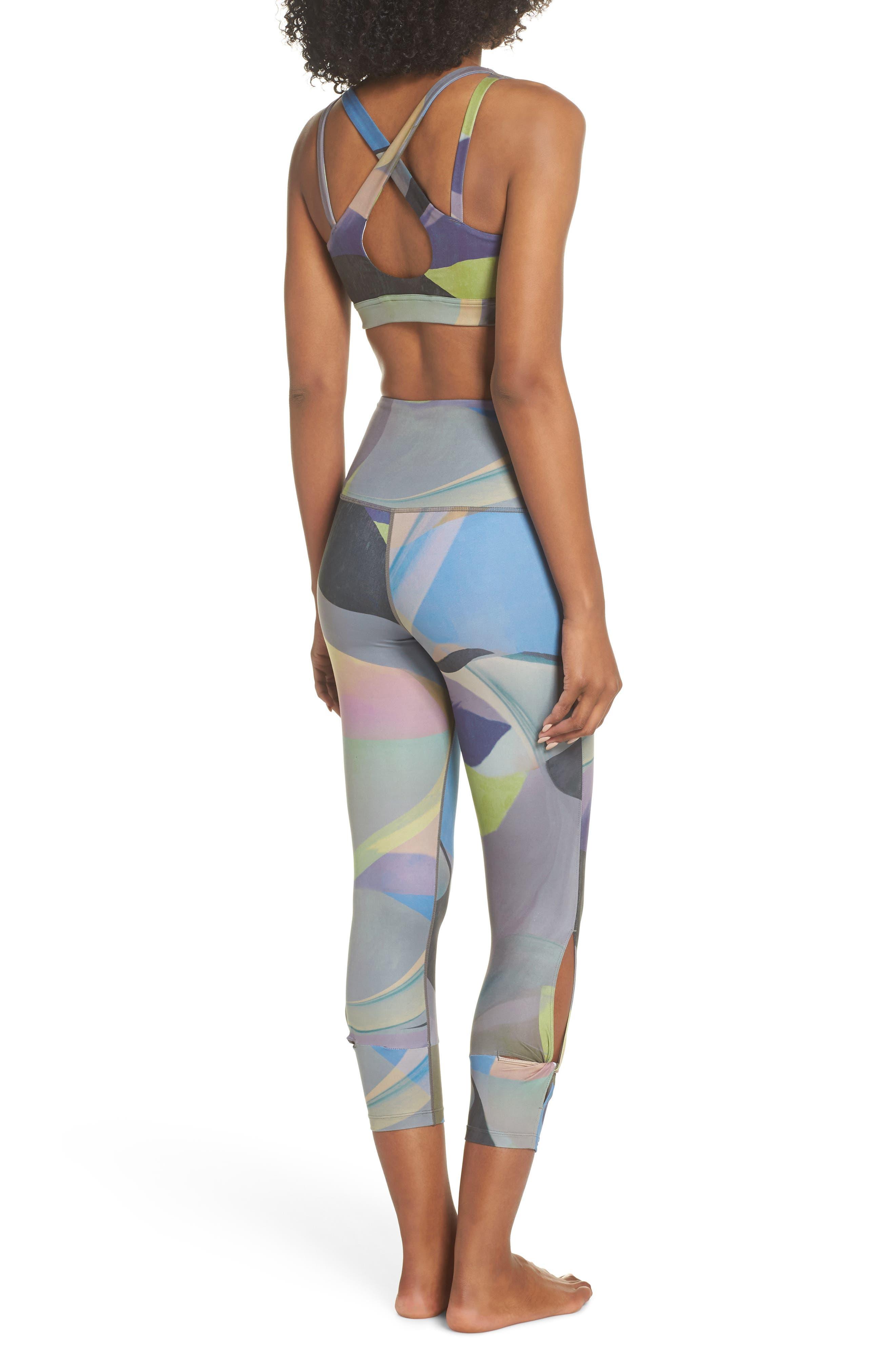 Katya High Waist Abstract Print Recycled Crop Leggings,                             Alternate thumbnail 9, color,                             GREY URBAN ABSTRACT BOTANICAL