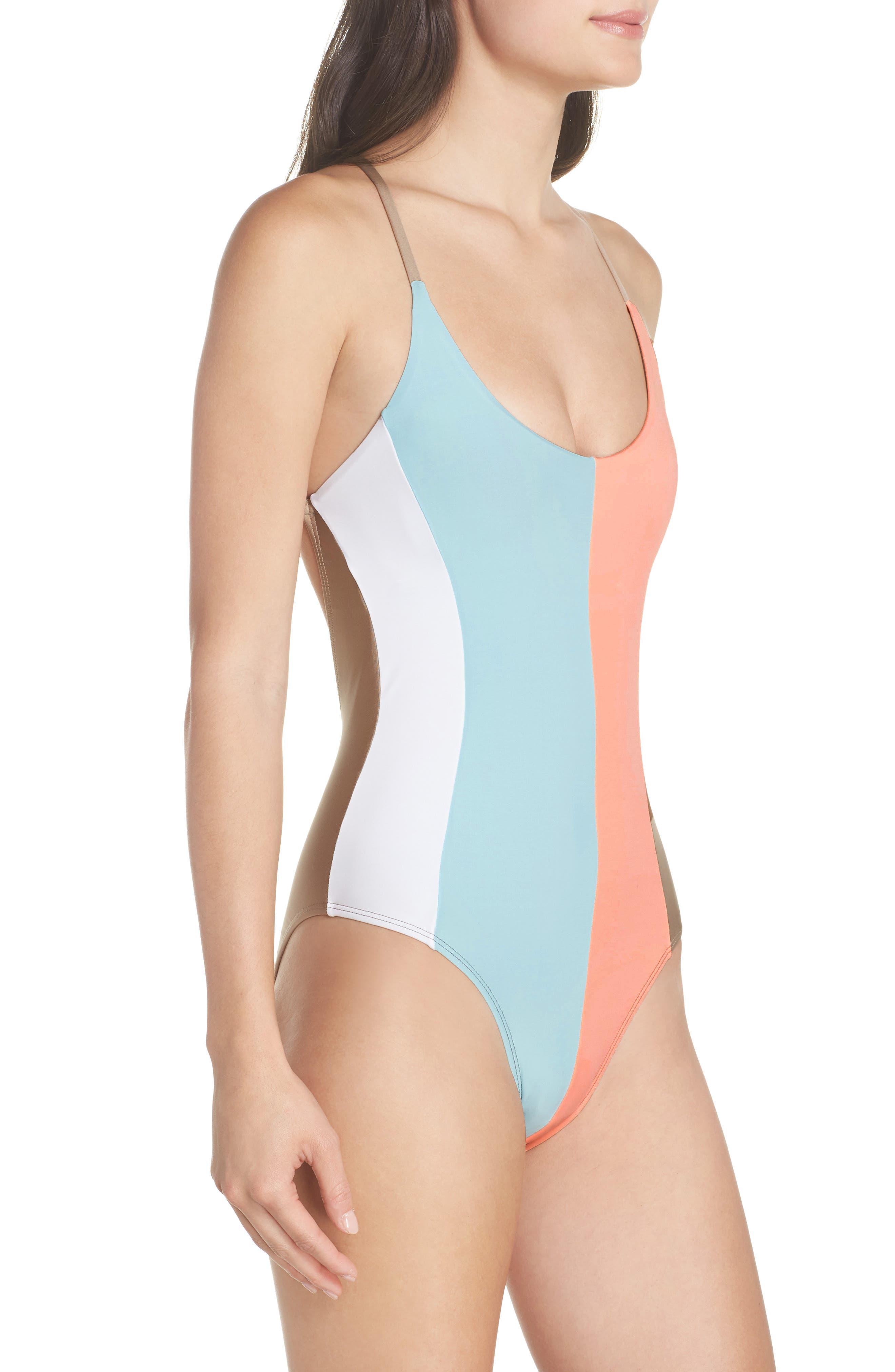 Farrah Stripe One-Piece Swimsuit,                             Alternate thumbnail 3, color,                             430