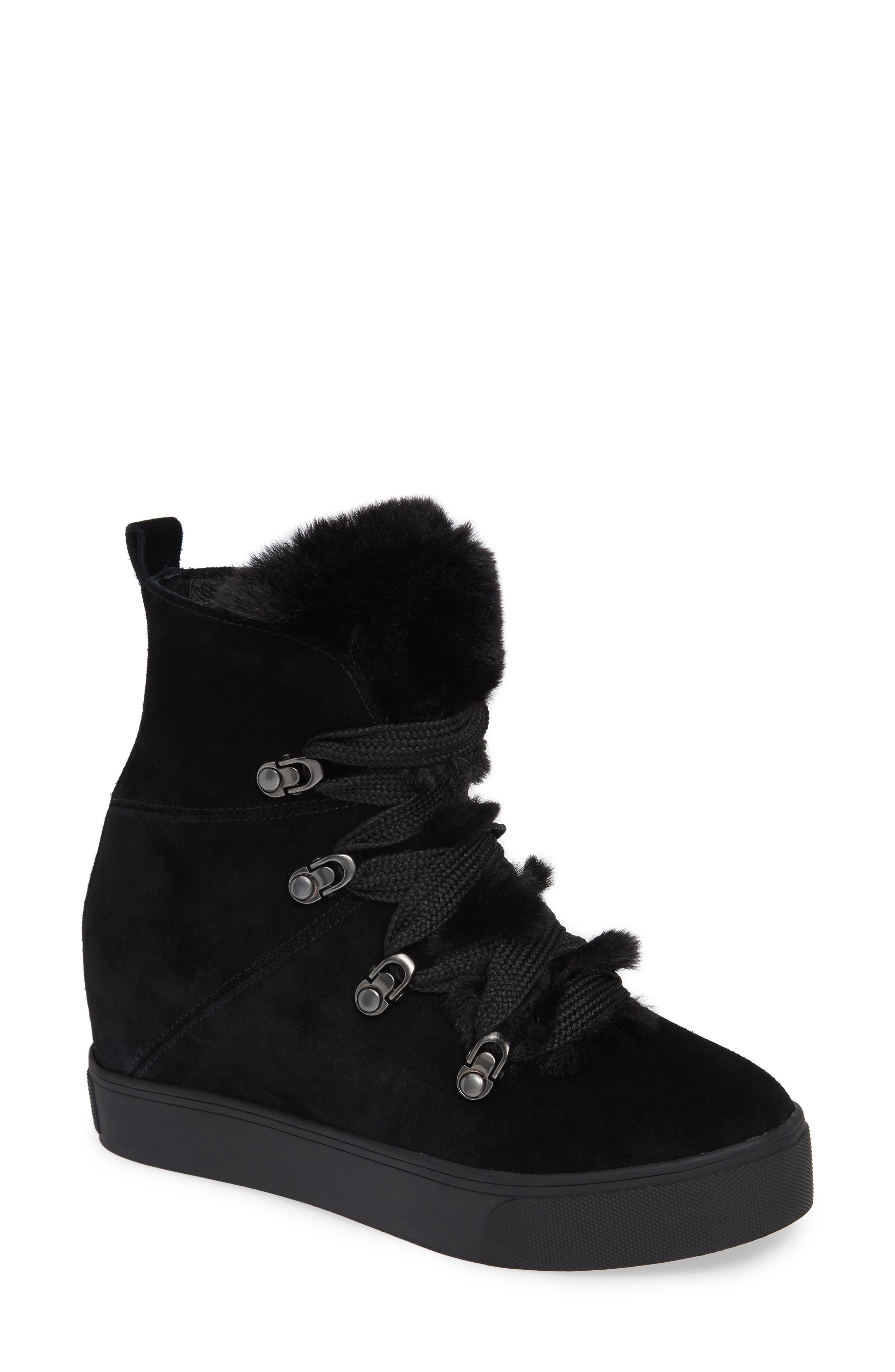 Whitney Faux Fur Trim High Top Sneaker,                             Main thumbnail 1, color,                             BLACK SUEDE