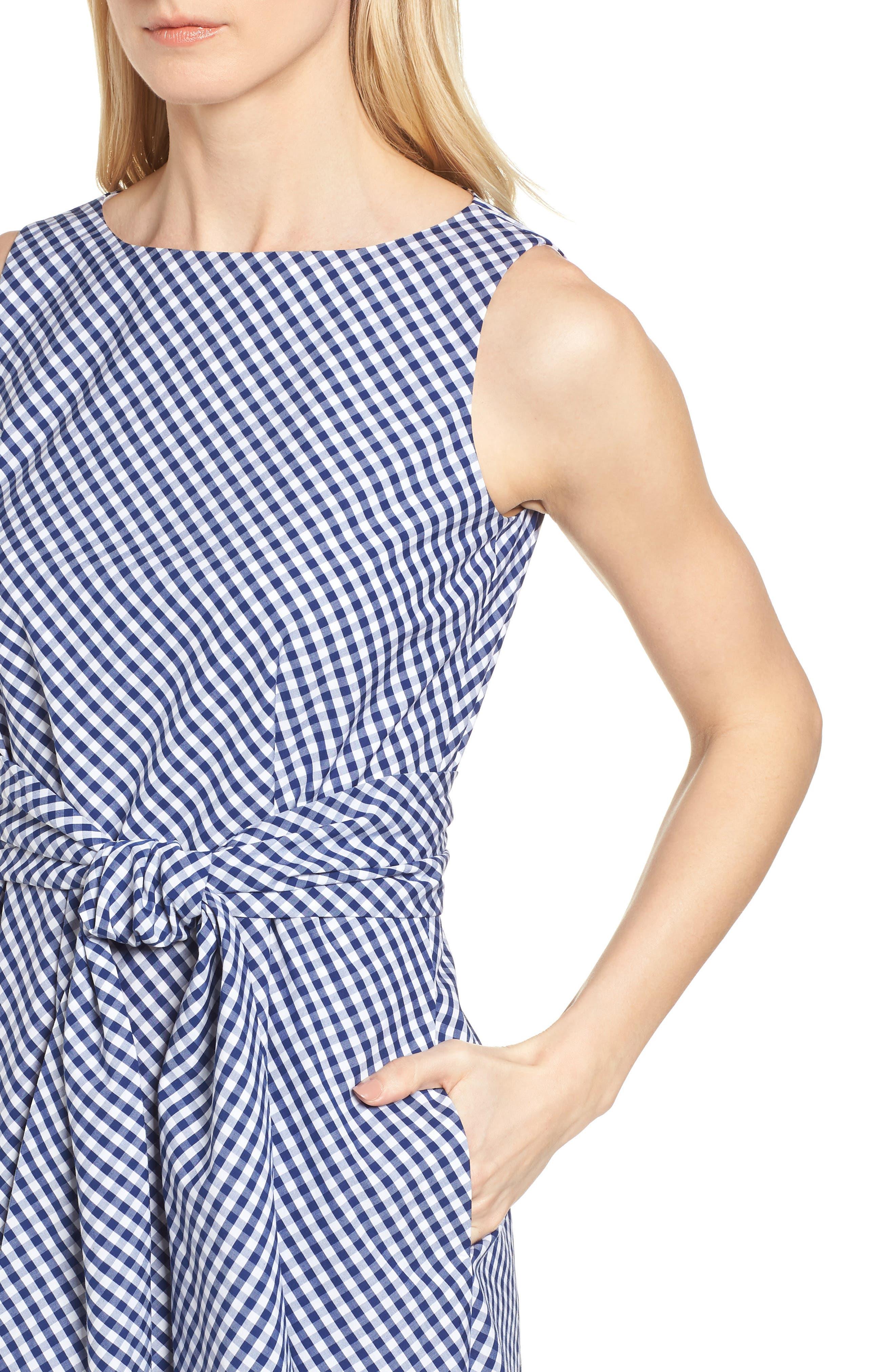 Cotton Gingham Midi Dress,                             Alternate thumbnail 4, color,                             400