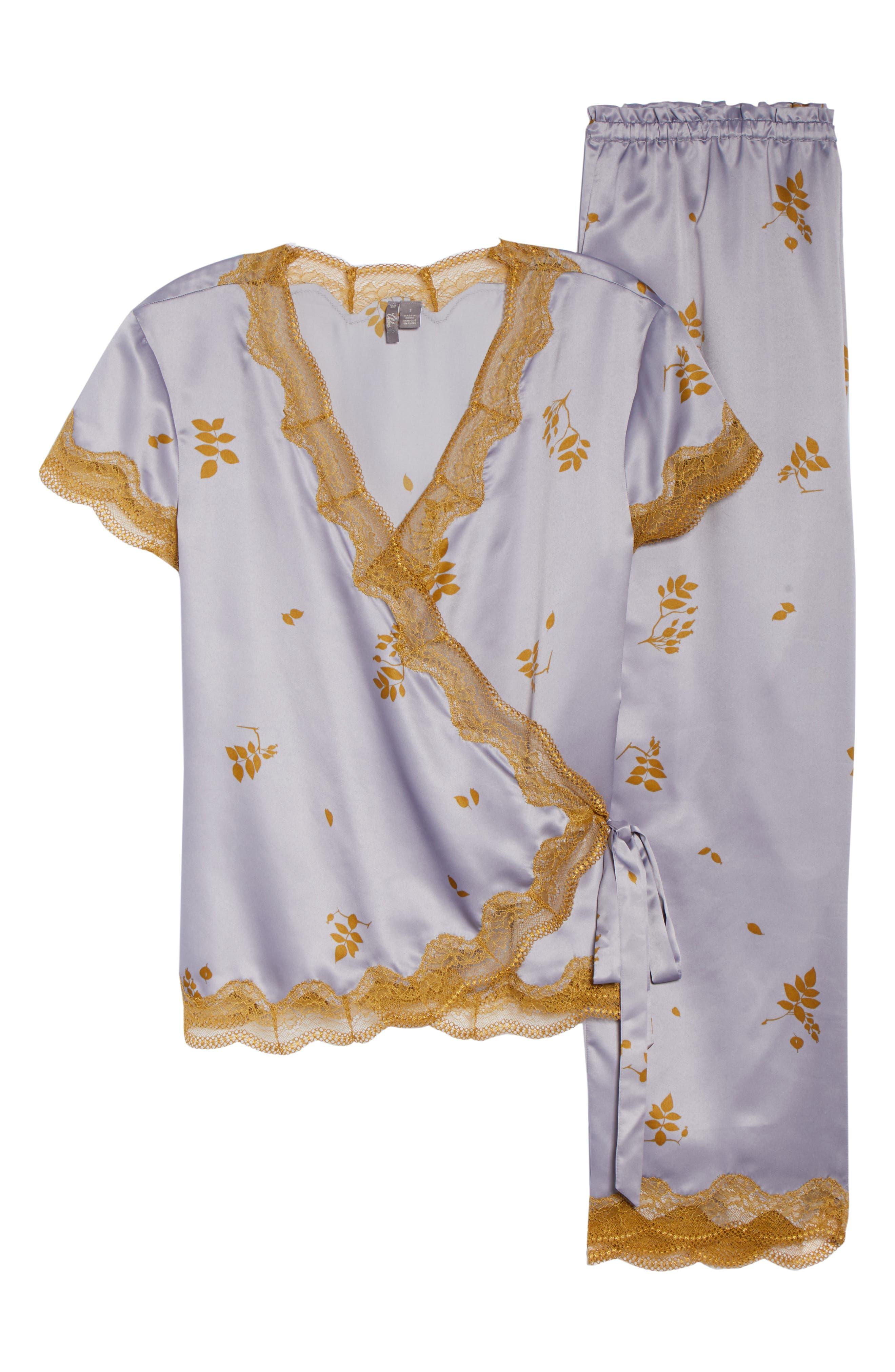 Colette Pajamas,                             Alternate thumbnail 6, color,                             GREY LILAC FALLING LEAVES