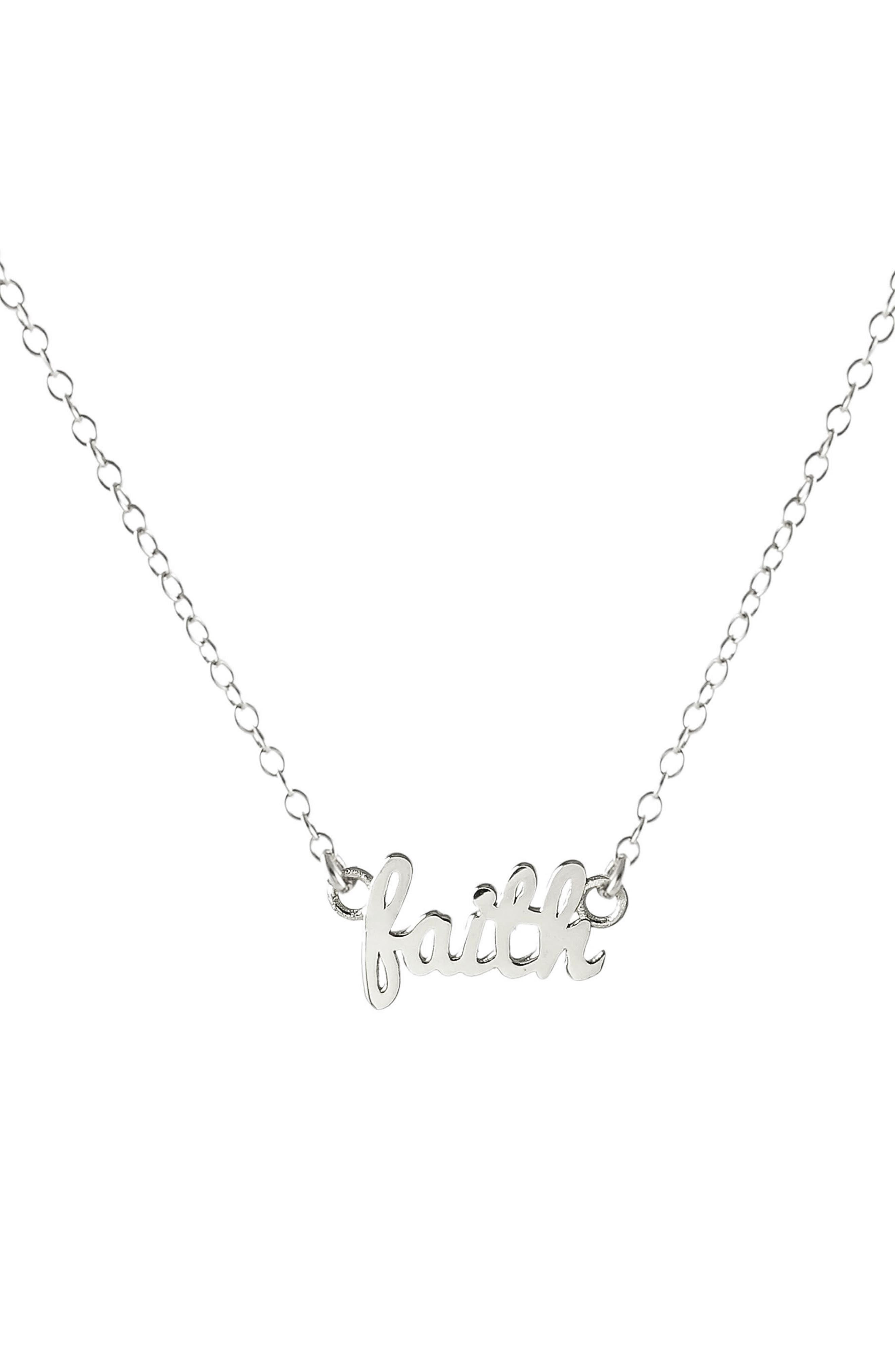 Faith Script Necklace,                         Main,                         color, SILVER