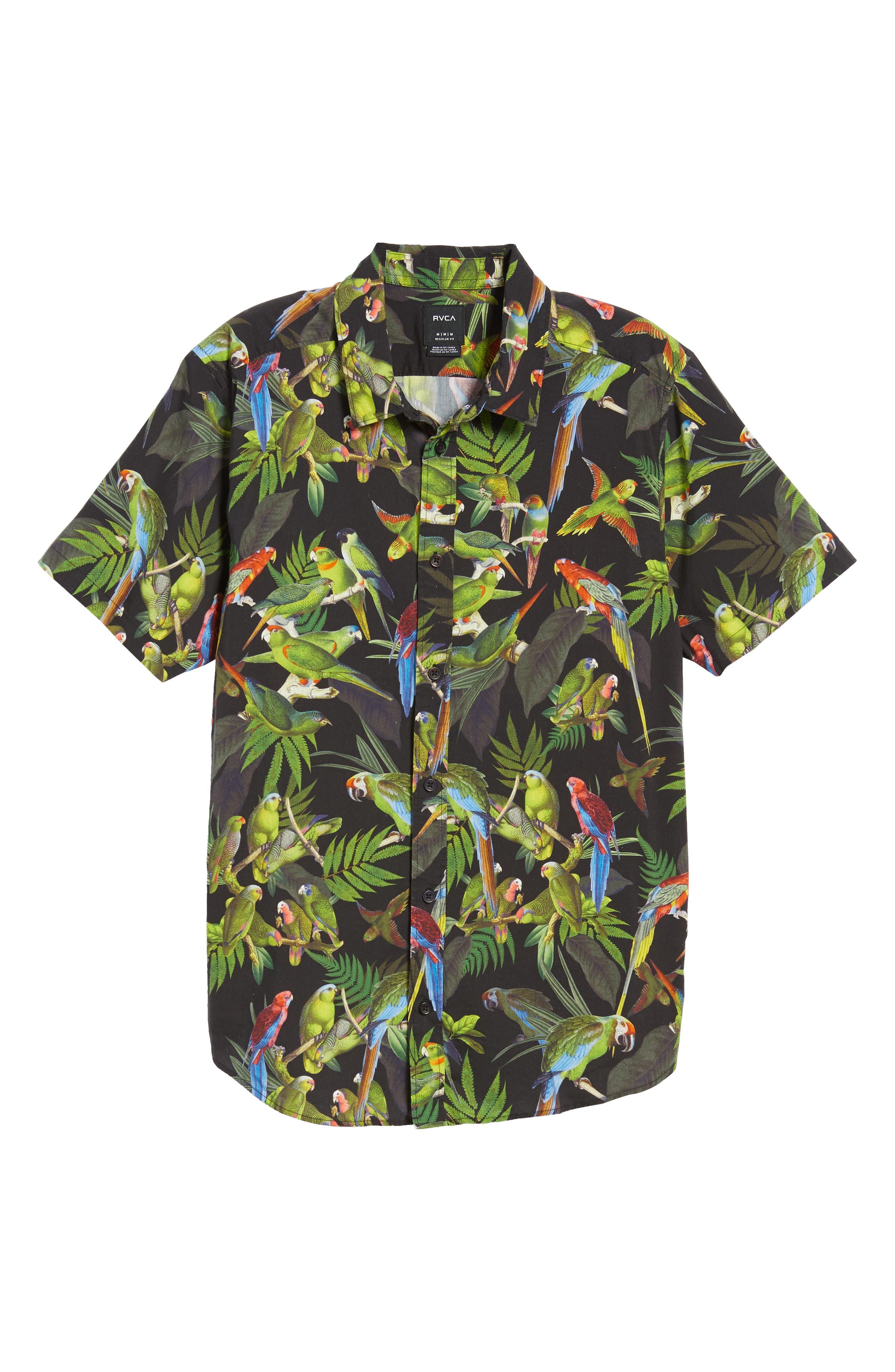 Squawker Woven Shirt,                             Alternate thumbnail 5, color,                             BLACK