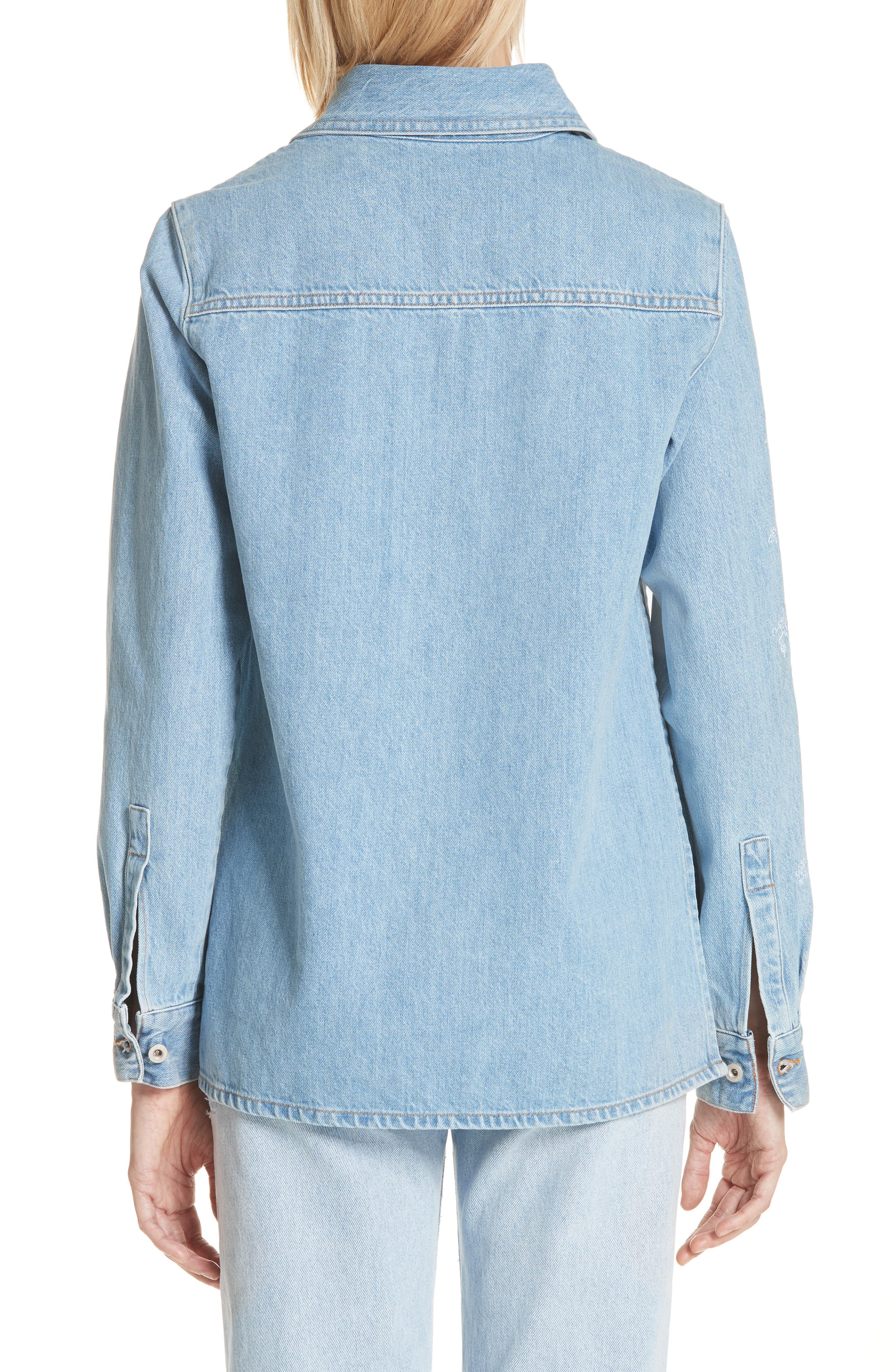 Crop Front Denim Shirt,                             Alternate thumbnail 2, color,                             400