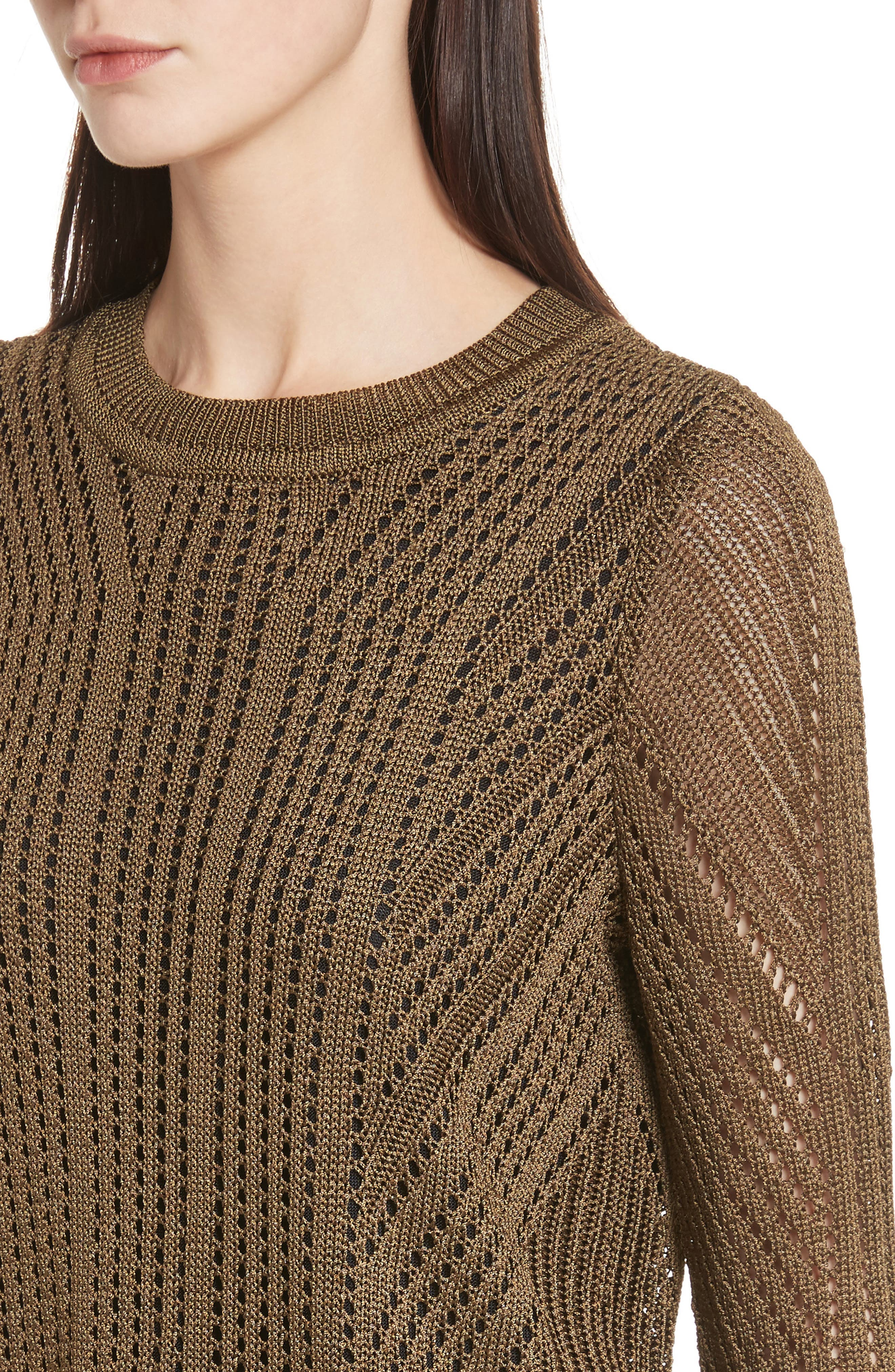 Pamela Crewneck Pointelle Sweater,                             Alternate thumbnail 8, color,