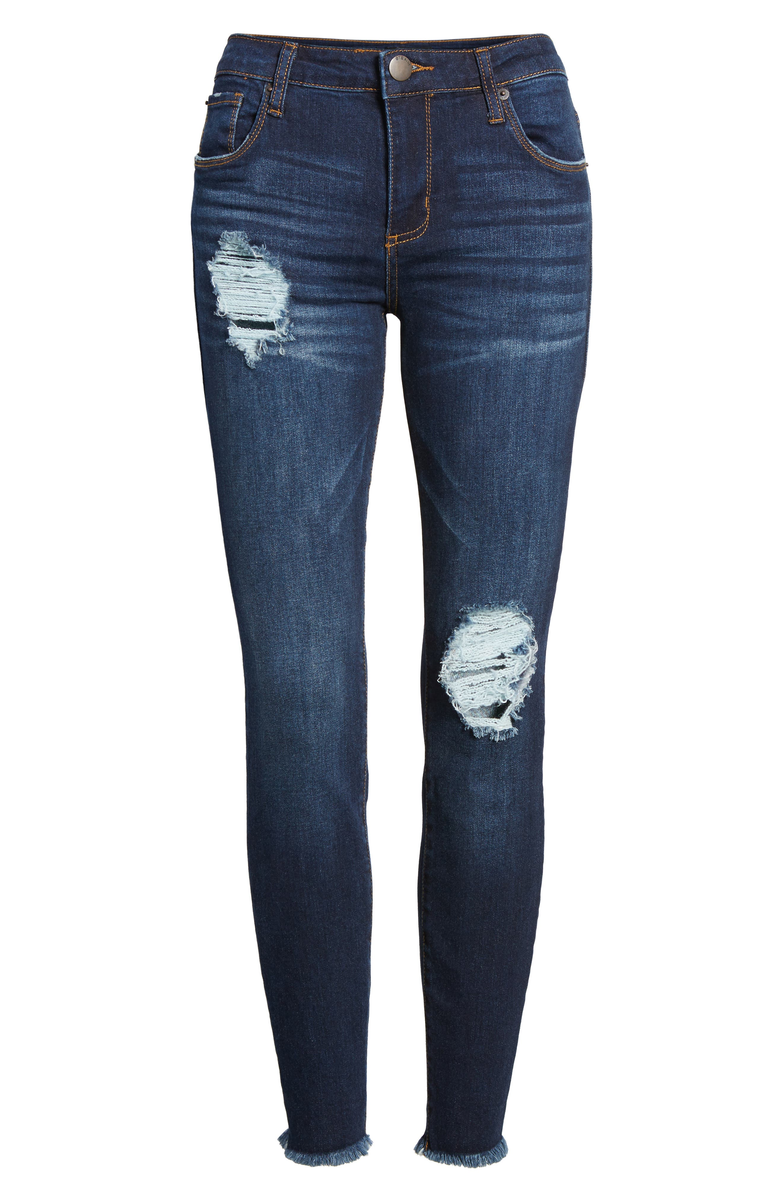 Emma Frayed Hem Ankle Skinny Jeans,                             Alternate thumbnail 6, color,                             400