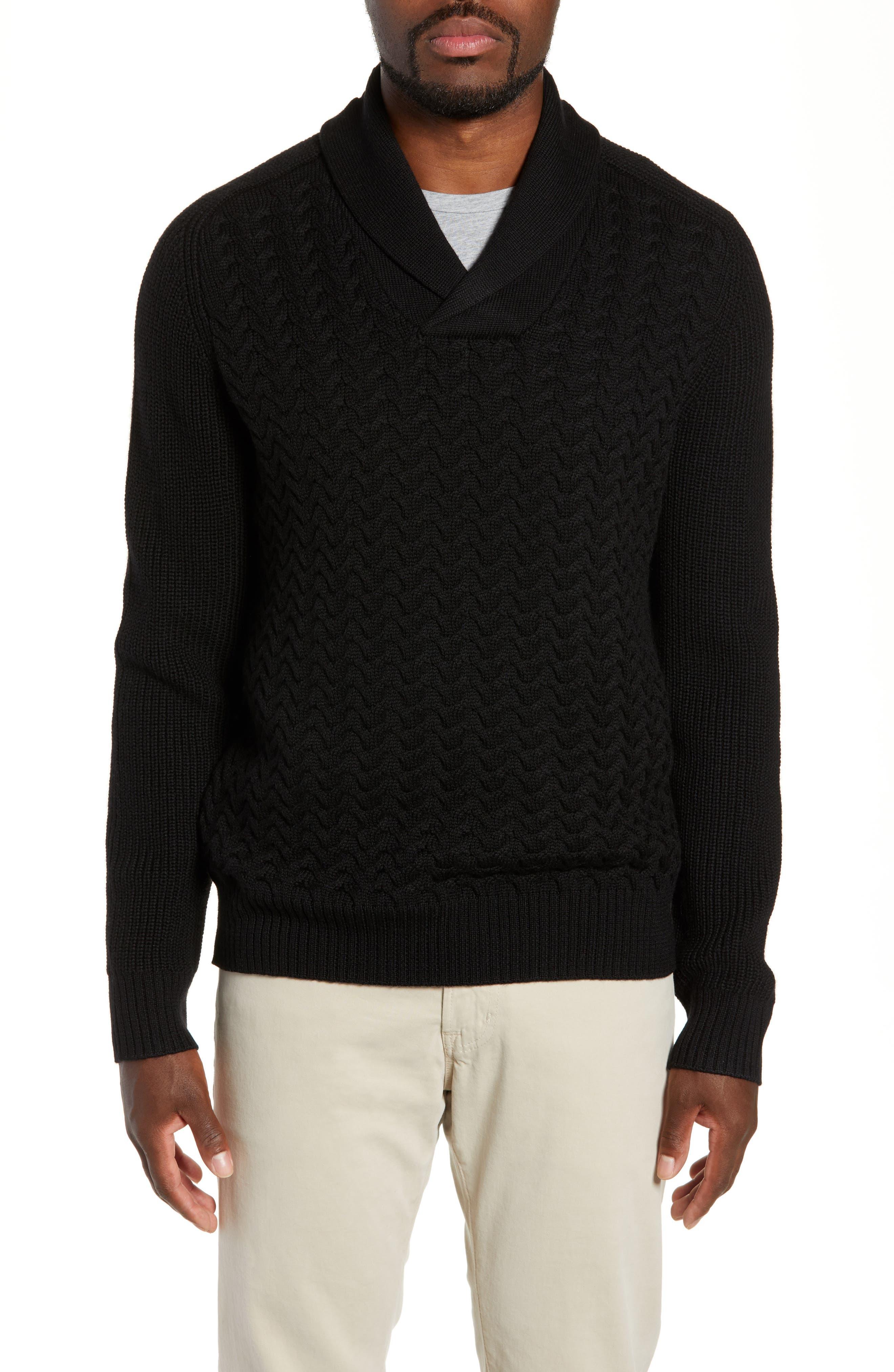 Nordstrom Signature Merino Wool Shawl Collar Sweater, Black