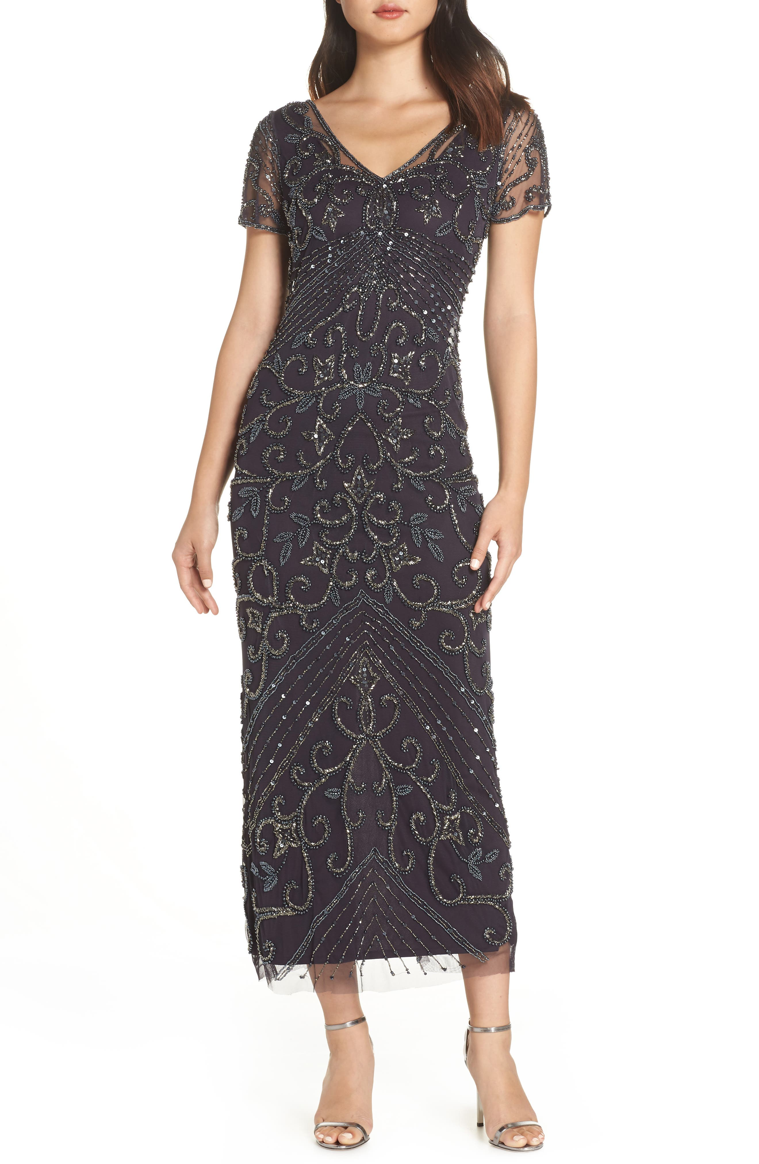 Beaded Longline Gown,                             Main thumbnail 1, color,                             EGGPLANT