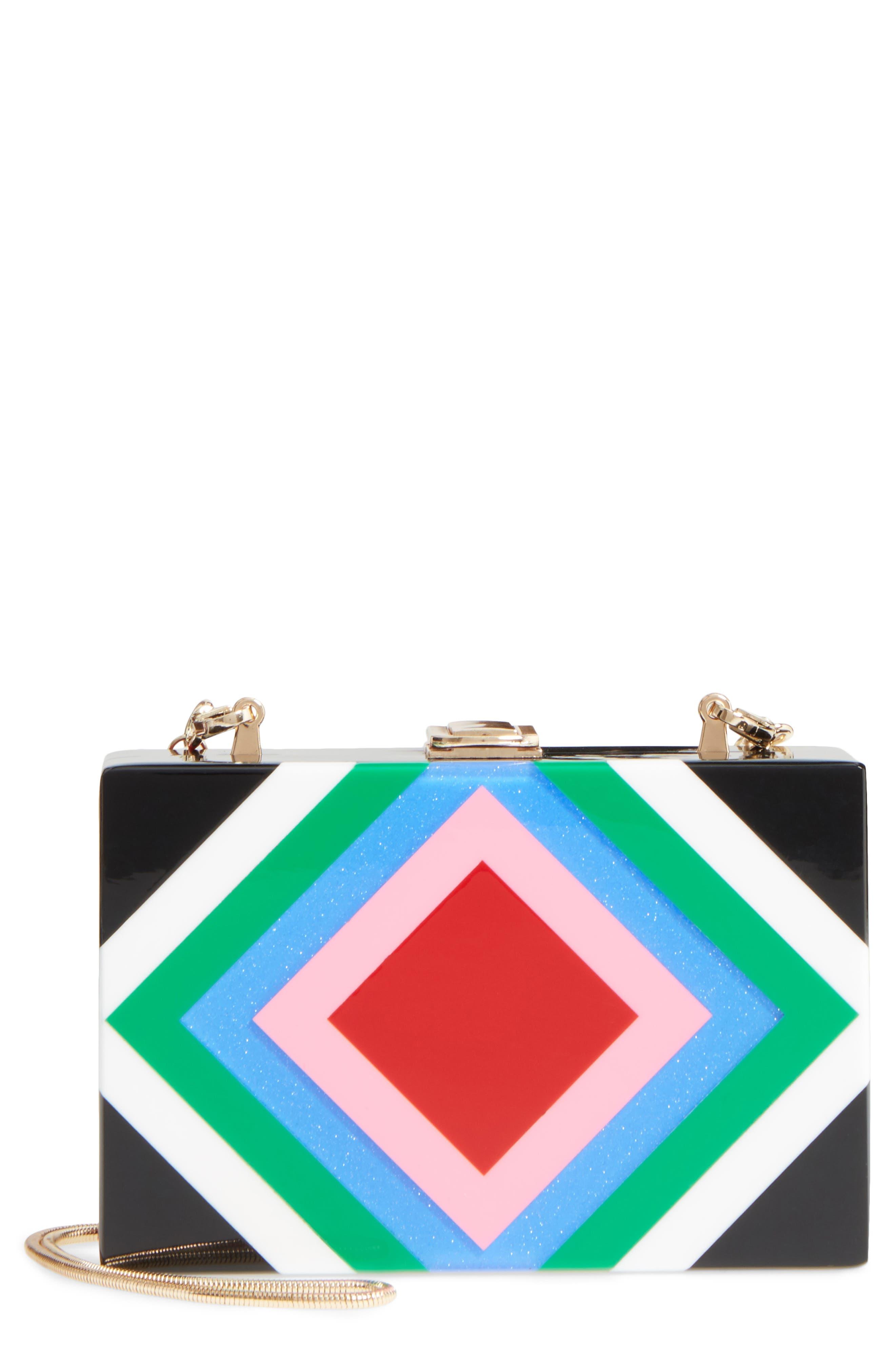 Diamond Square Box Clutch,                         Main,                         color, 001