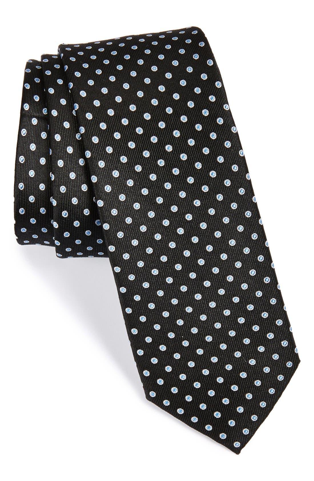 'Grand Dot' Woven Silk Tie,                         Main,                         color, 001