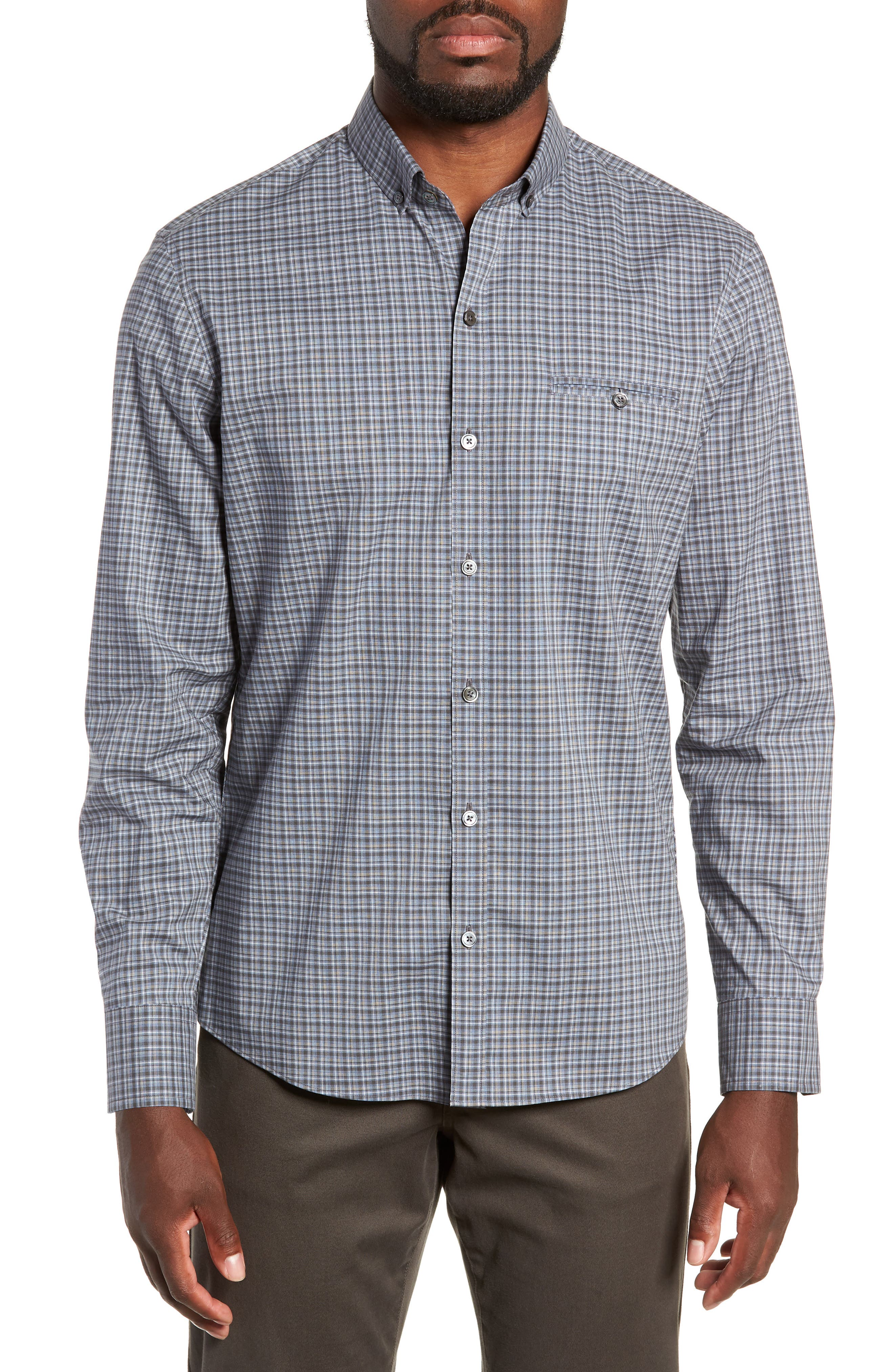 ZACHARY PRELL,                             Chu Regular Fit Plaid Sport Shirt,                             Main thumbnail 1, color,                             021