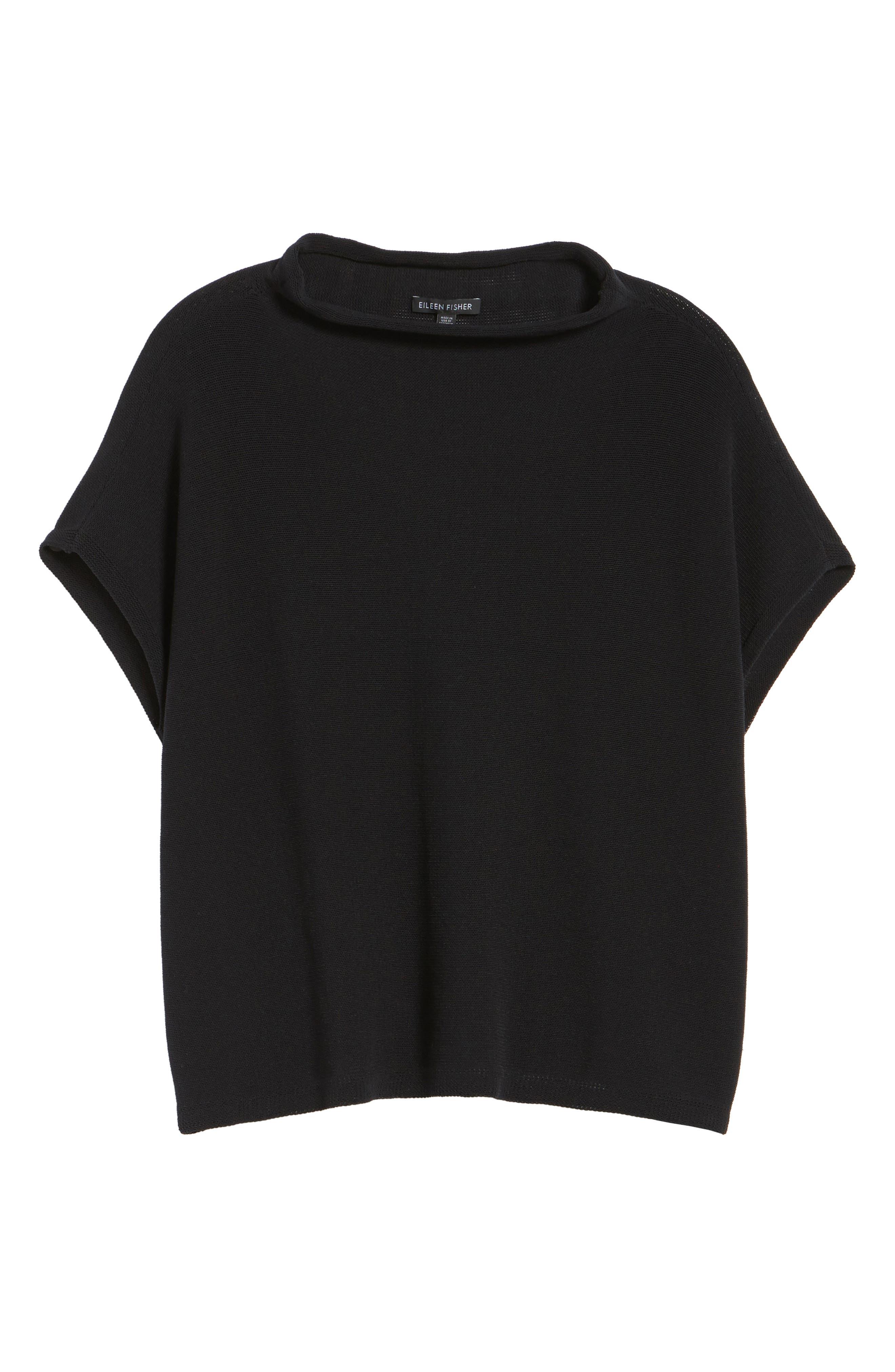 Organic Cotton Blend Funnel Neck Sweater,                             Alternate thumbnail 6, color,                             001