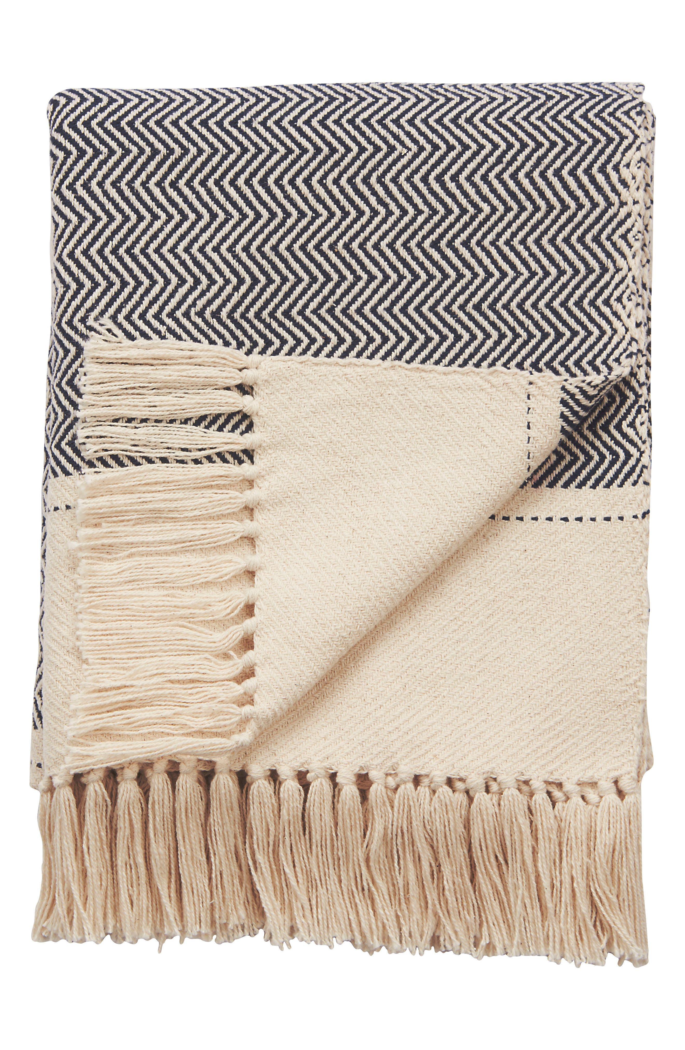 Spirit Hand Loomed Throw Blanket,                             Main thumbnail 1, color,                             BLACK/ WHITE