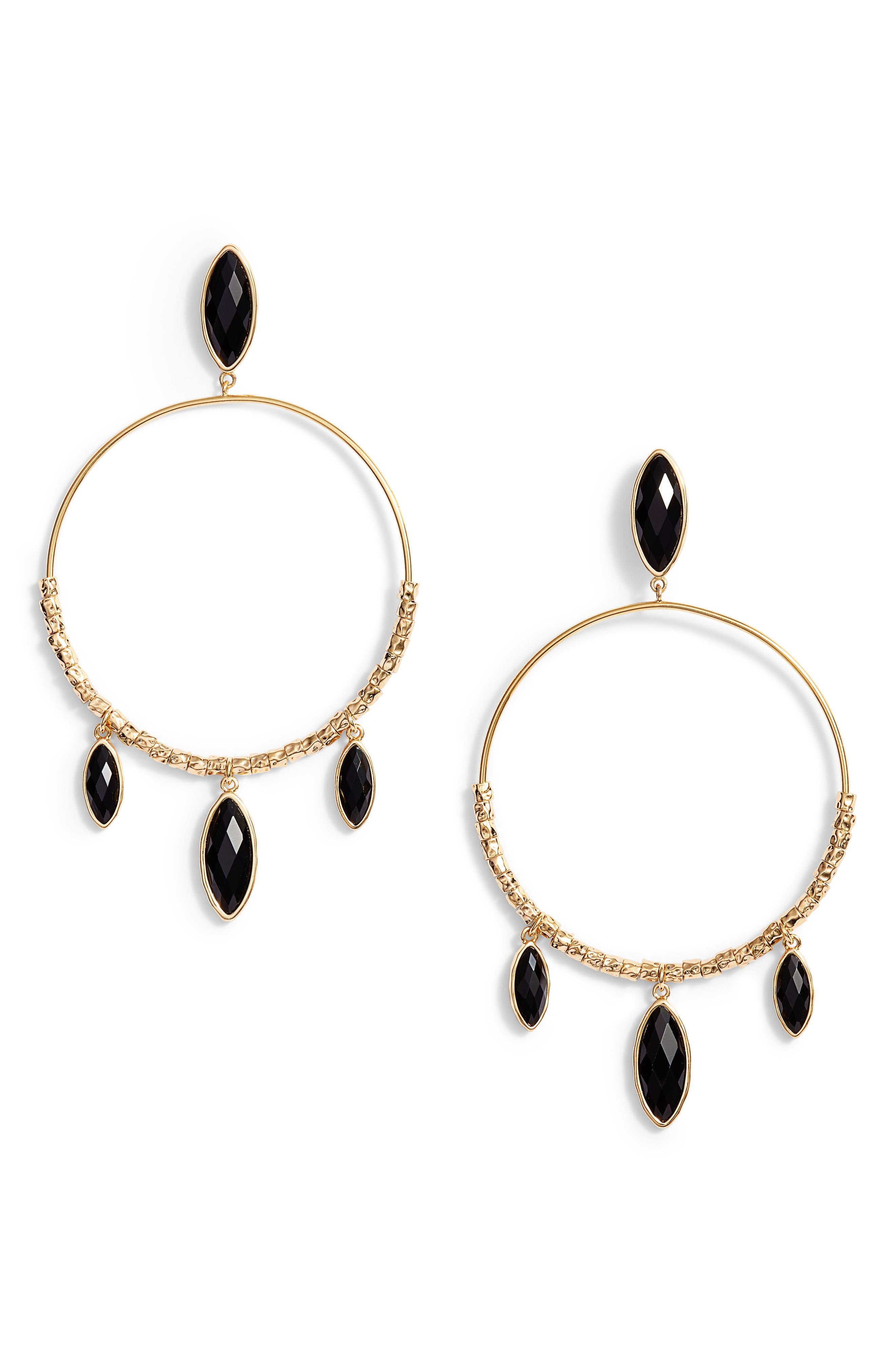 Palisades Drop Hoop Earrings,                         Main,                         color, 001