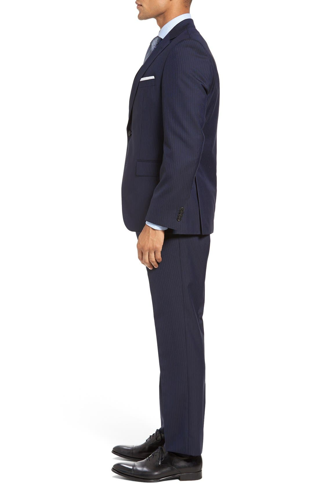 BOSS Johnstons/Lenon Trim Fit Stripe Wool Suit,                             Alternate thumbnail 3, color,                             402