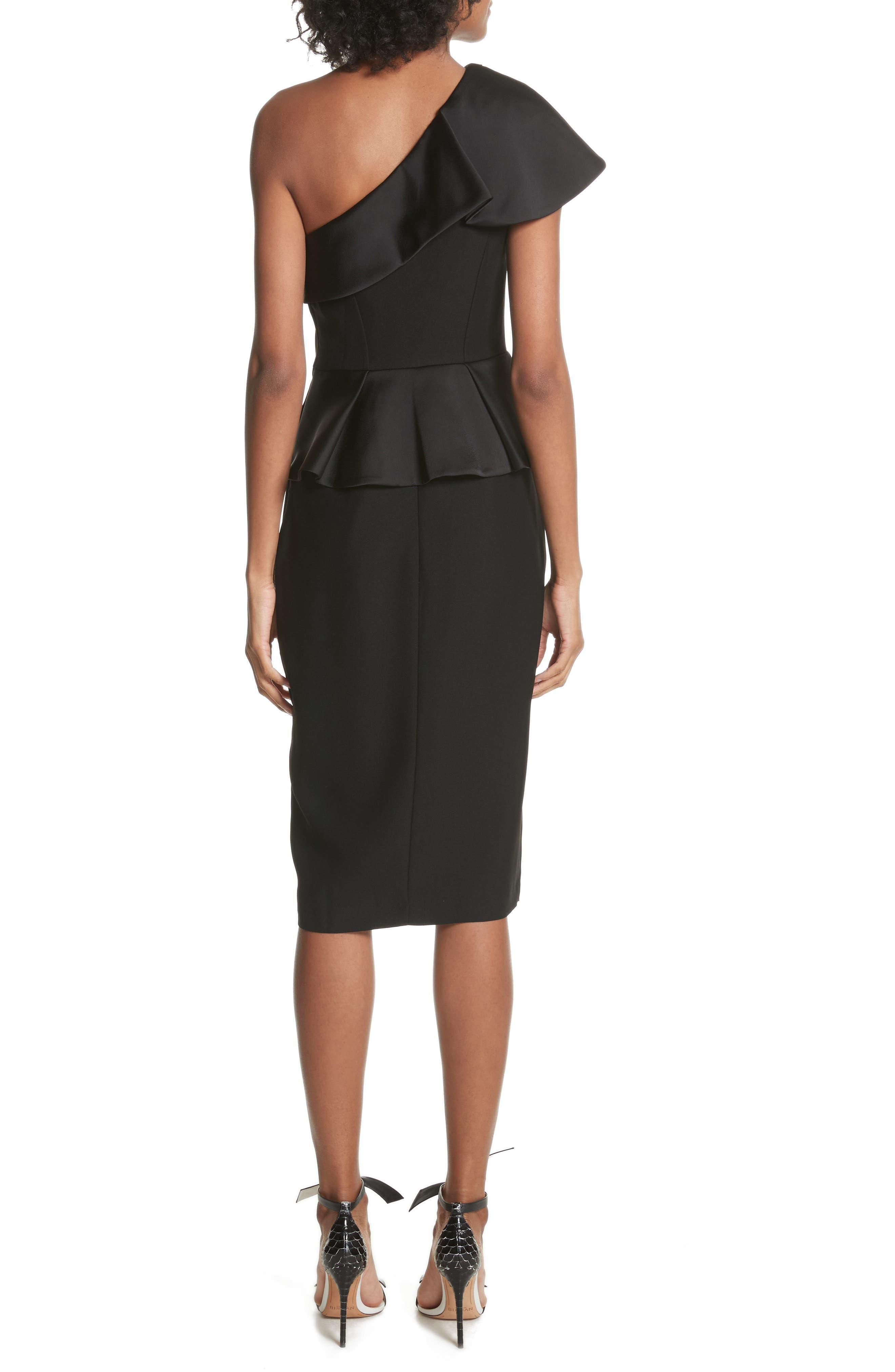 Pana One-Shoulder Peplum Sheath Dress,                             Alternate thumbnail 2, color,                             001