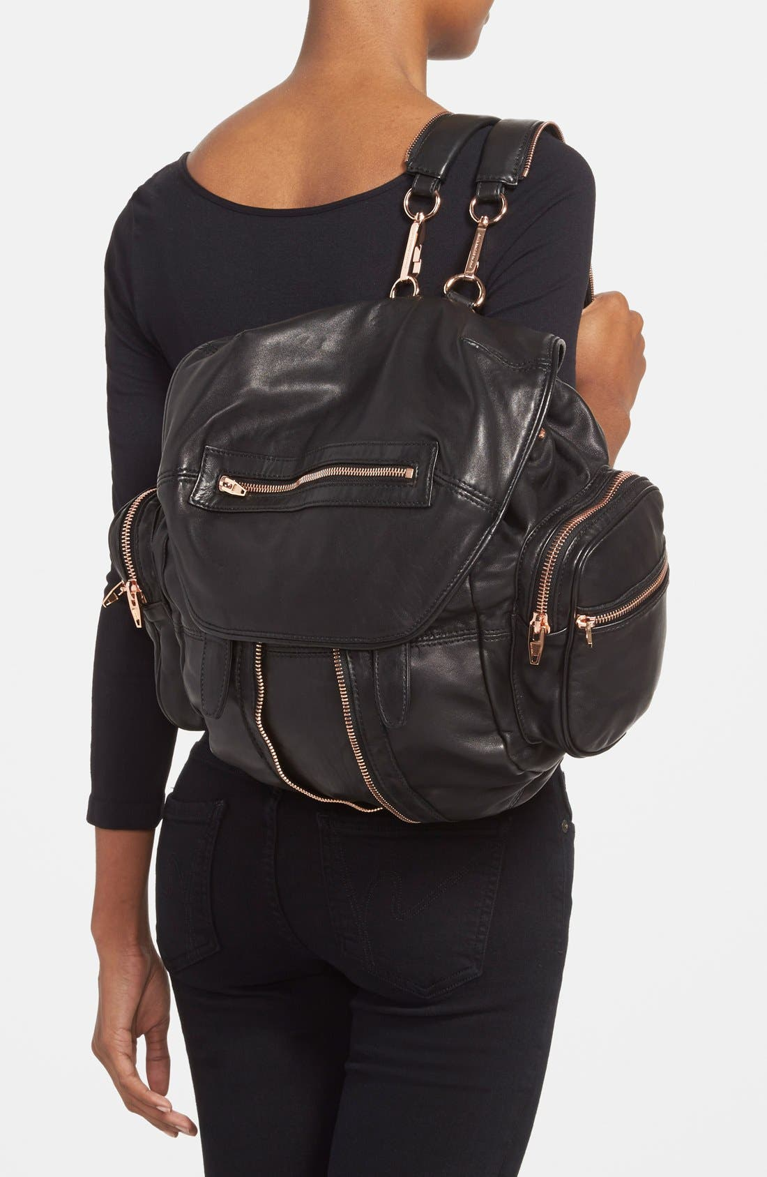 'Marti - Rose Gold' Leather Backpack,                             Alternate thumbnail 2, color,                             001
