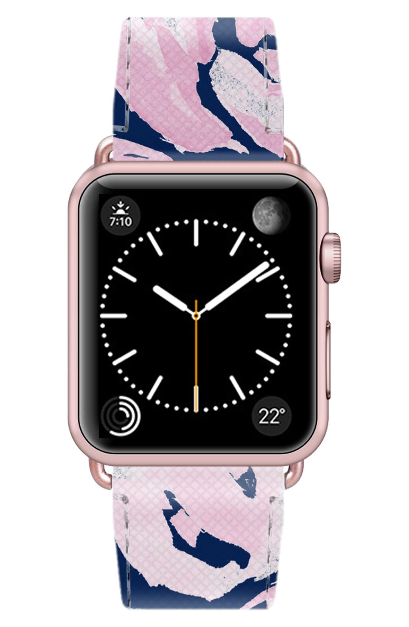 Saffiano Faux Leather Apple Watch Strap,                             Alternate thumbnail 32, color,