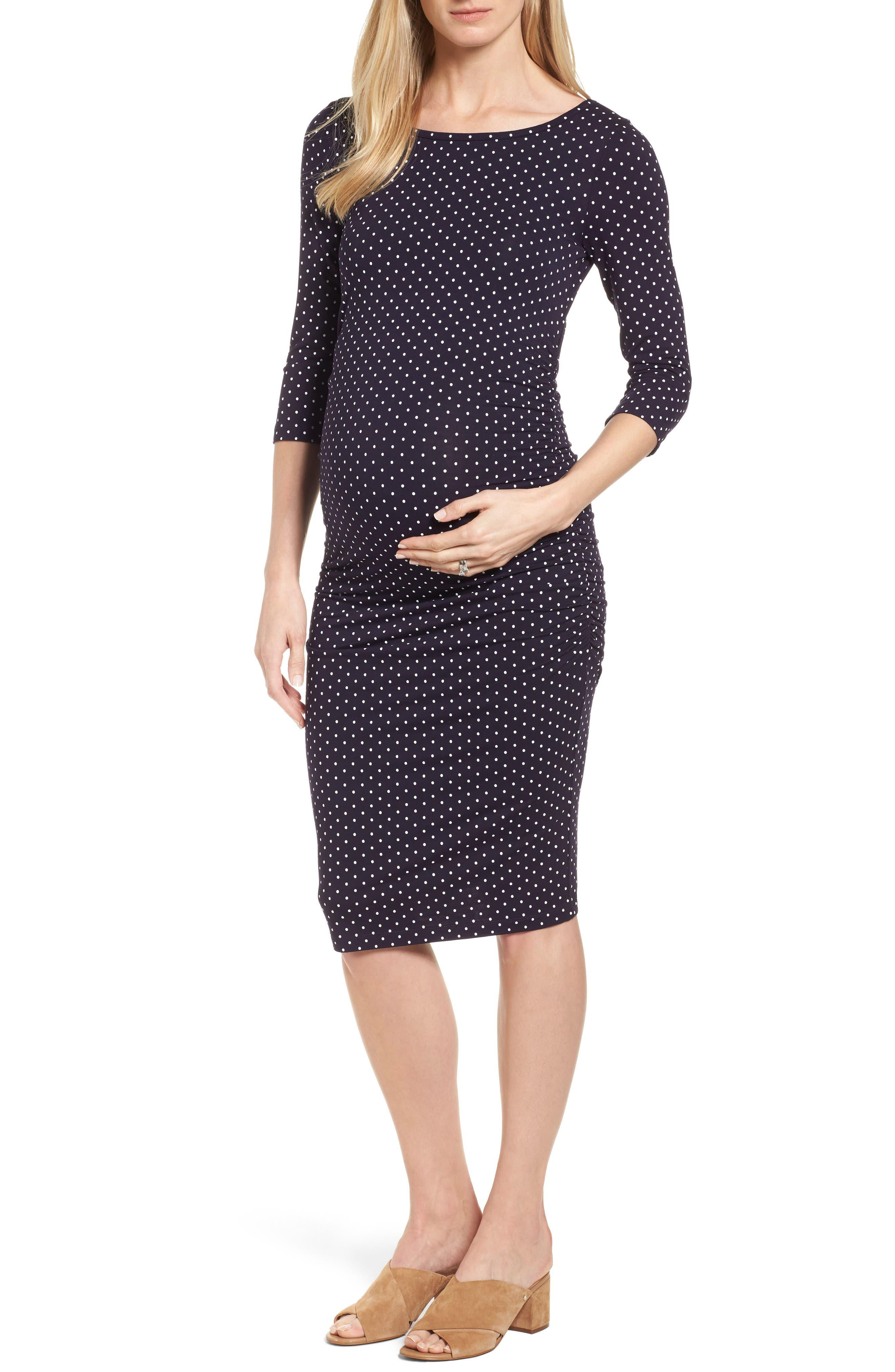 Jennifer Dot Ruched Maternity Dress,                         Main,                         color, NAVY POLKA PRINT