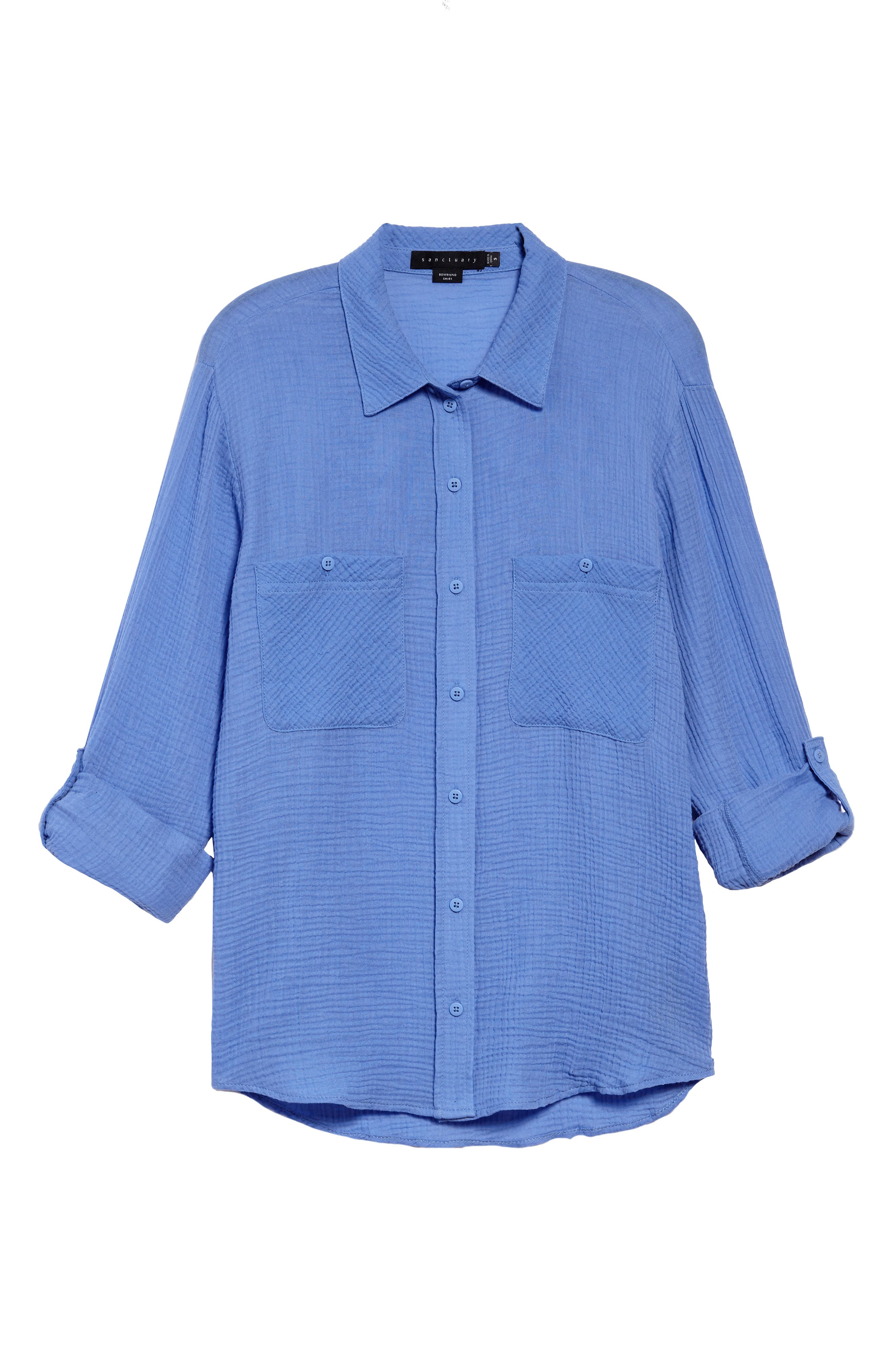 Steady Boyfriend Roll Tab Shirt,                             Alternate thumbnail 6, color,                             IRIS