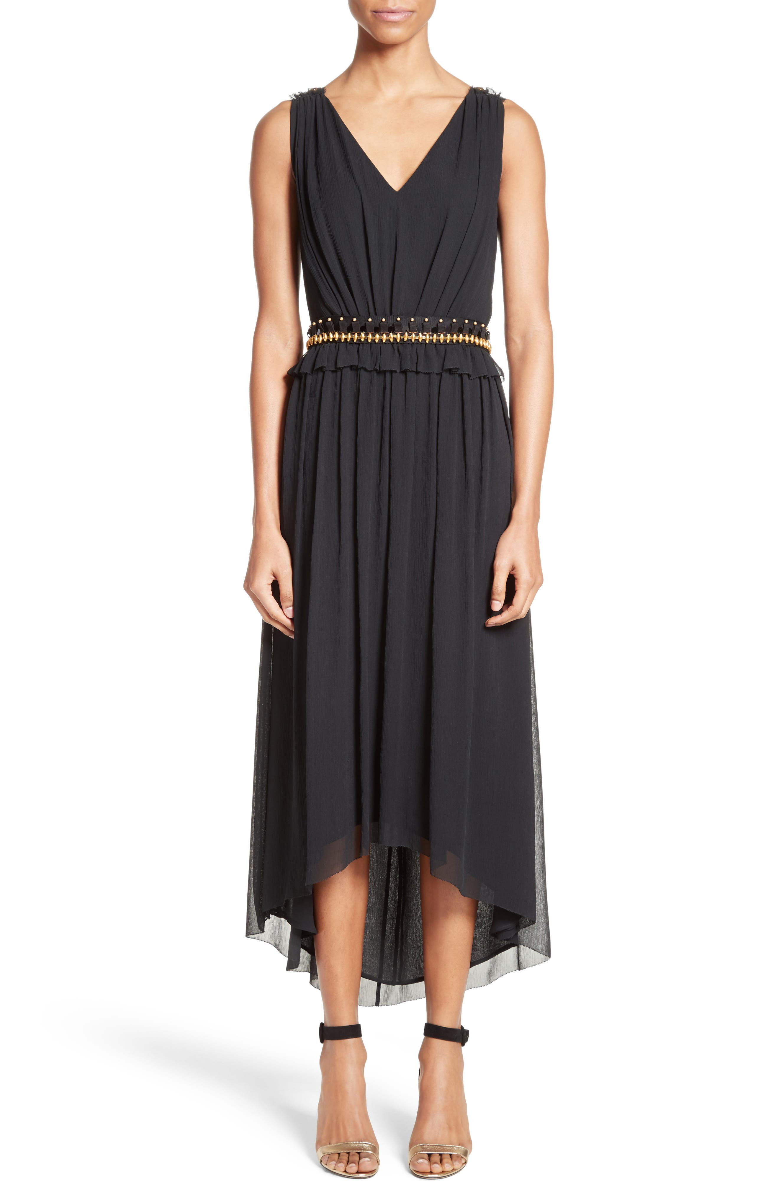 Crinkled Silk Georgette Dress,                             Main thumbnail 1, color,                             001