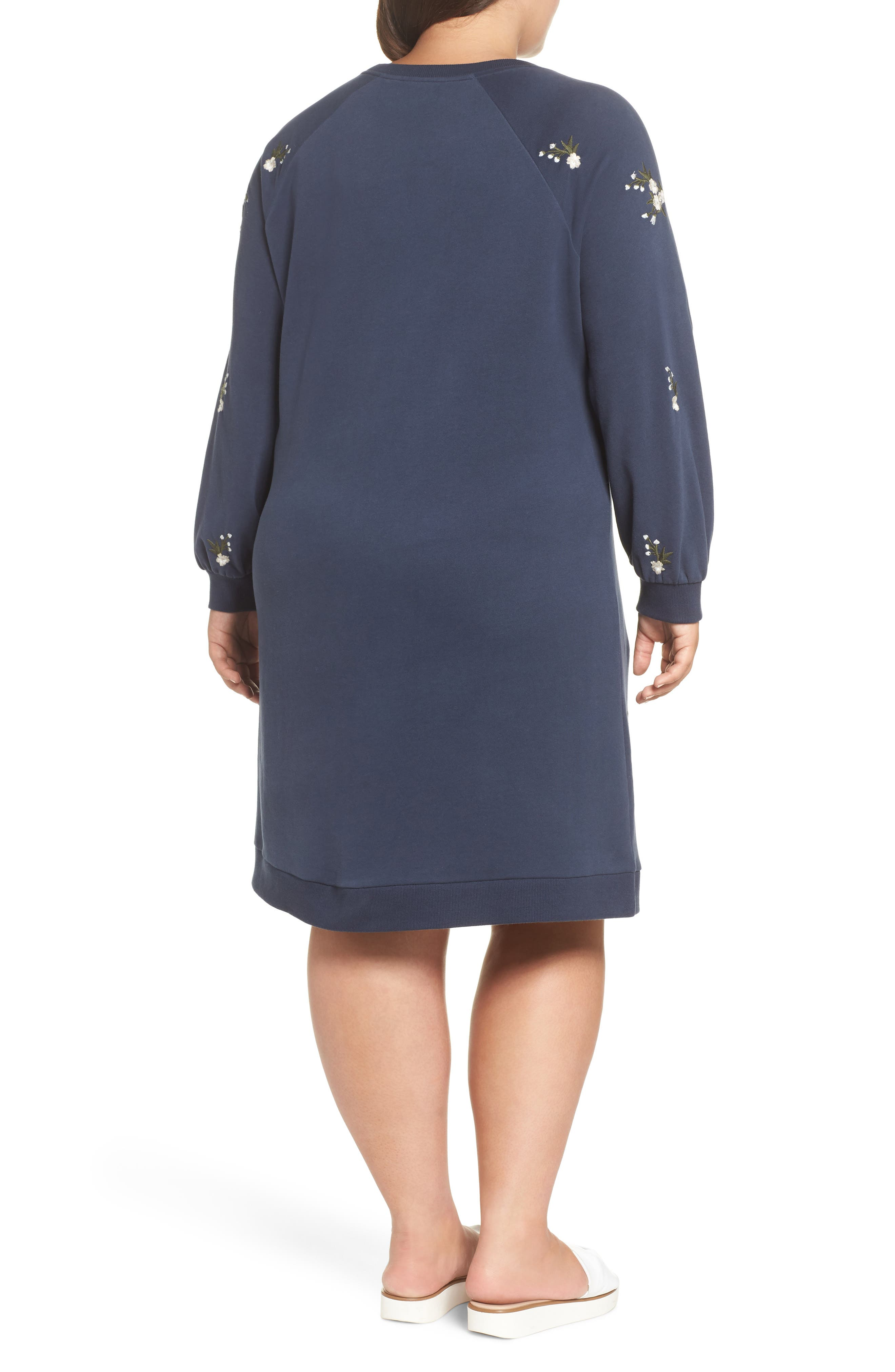 Embroidered Fleece Knit Dress,                             Alternate thumbnail 2, color,                             410