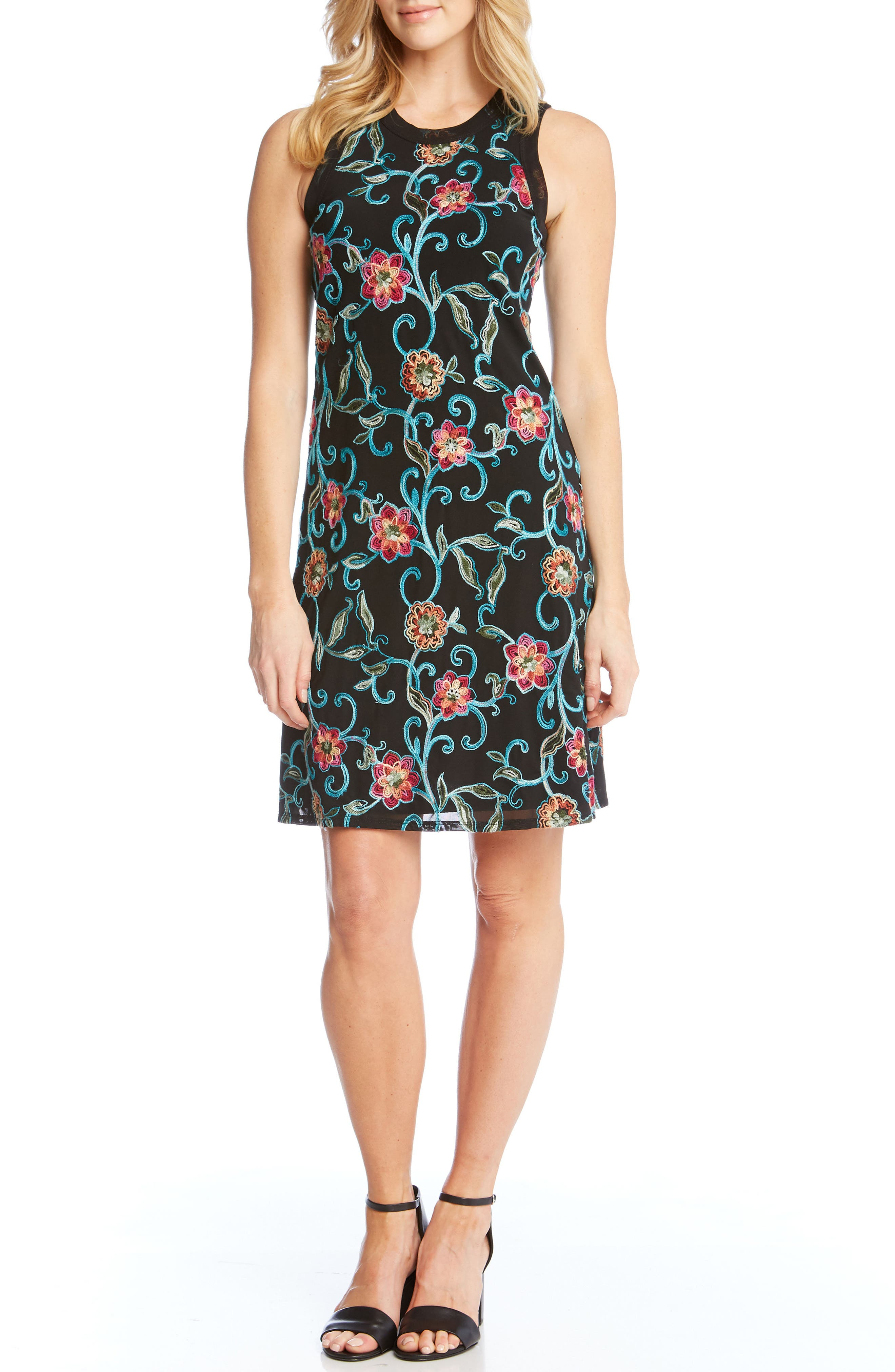 Embroidered Mesh Sheath Dress,                             Main thumbnail 1, color,                             001