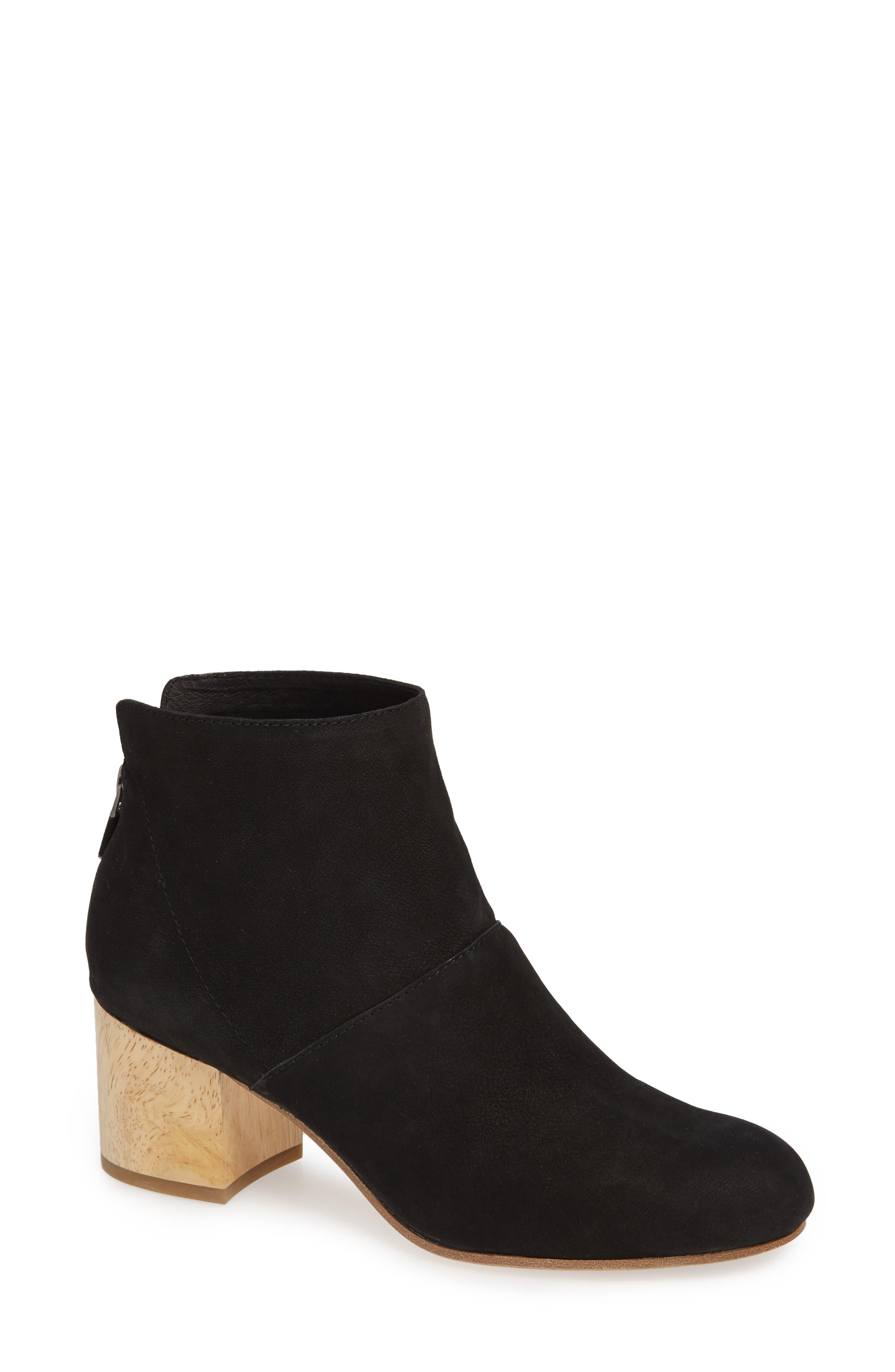 Suri Block Heel Bootie, Main, color, BLACK NUBUCK