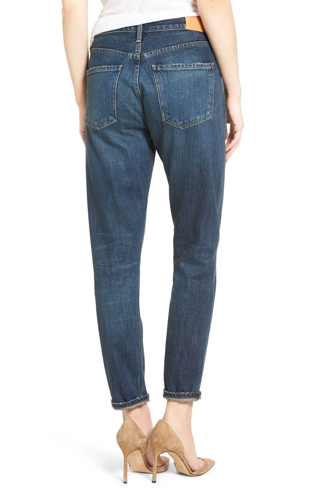 Liya High Waist Slim Boyfriend Jeans,                             Alternate thumbnail 3, color,                             WILTERN